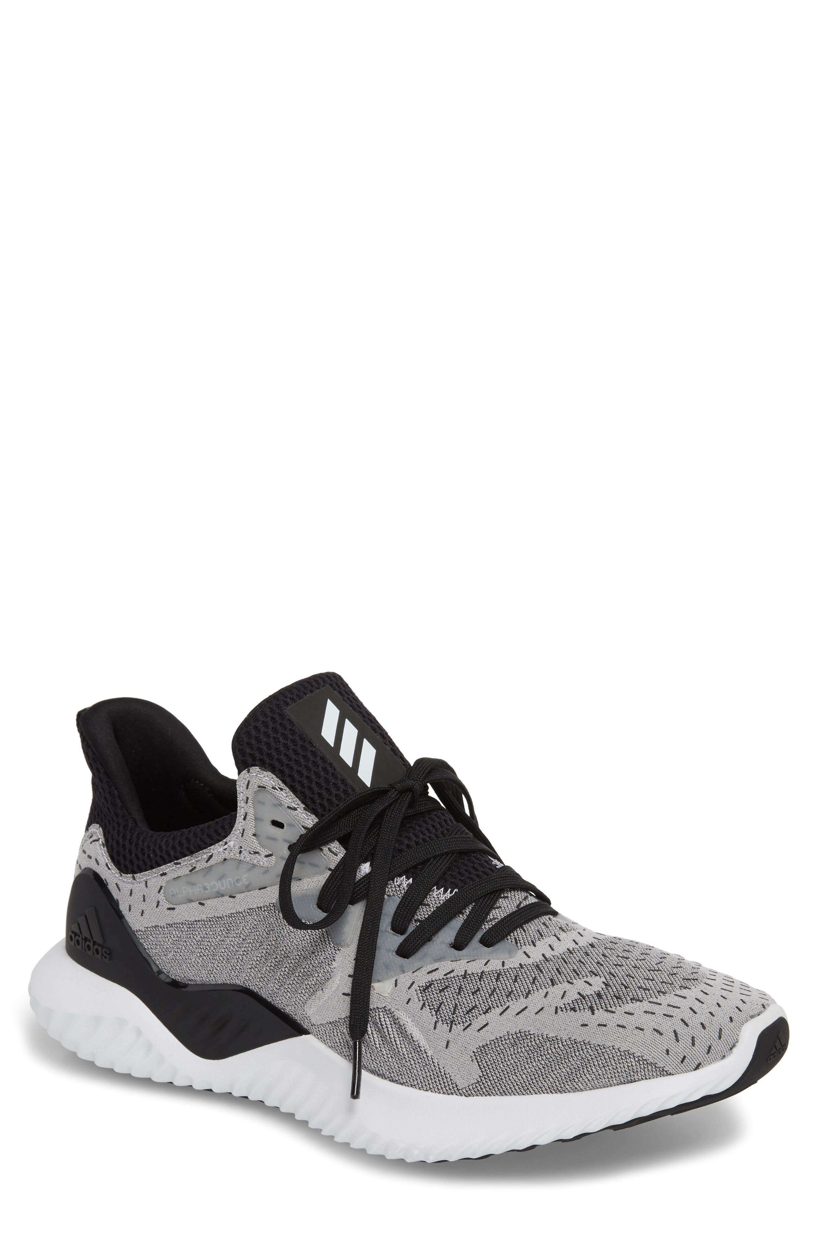 AlphaBounce Beyond Knit Running Shoe,                         Main,                         color, White/ Core Black
