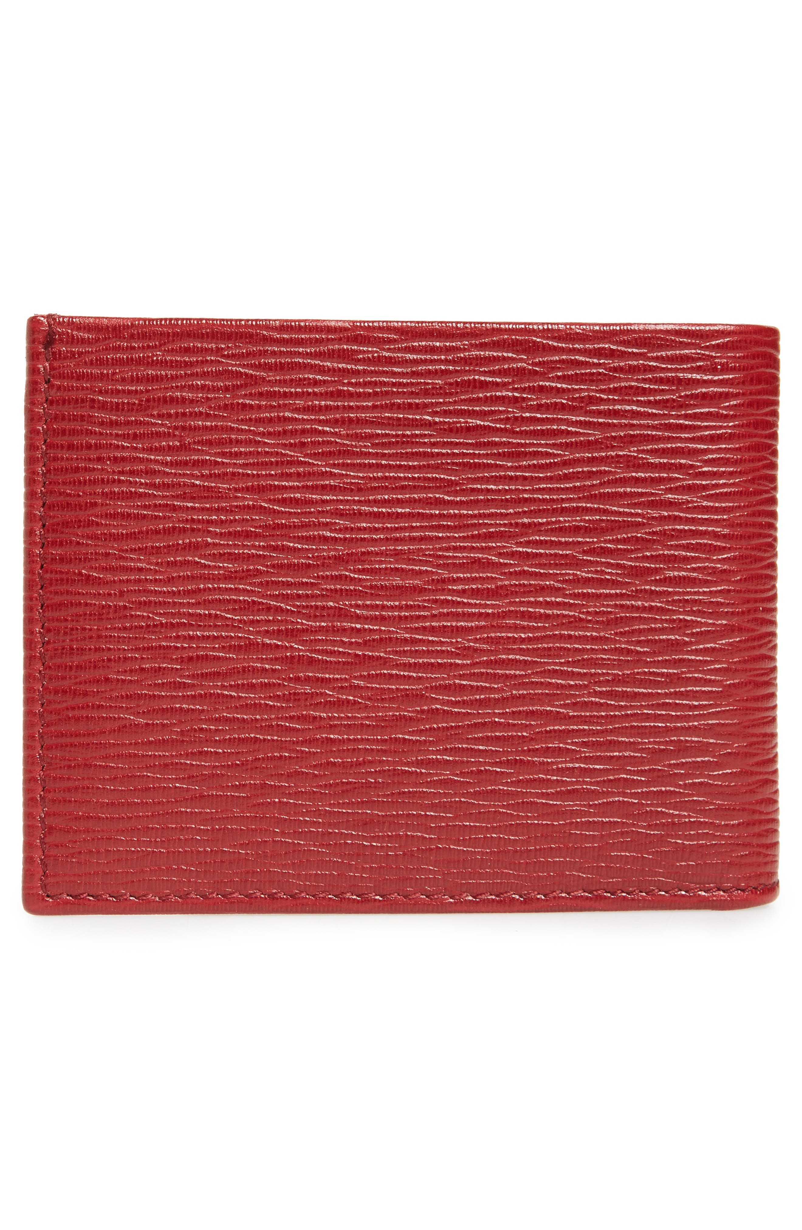 Revival Bifold Leather Wallet,                             Alternate thumbnail 3, color,                             Red