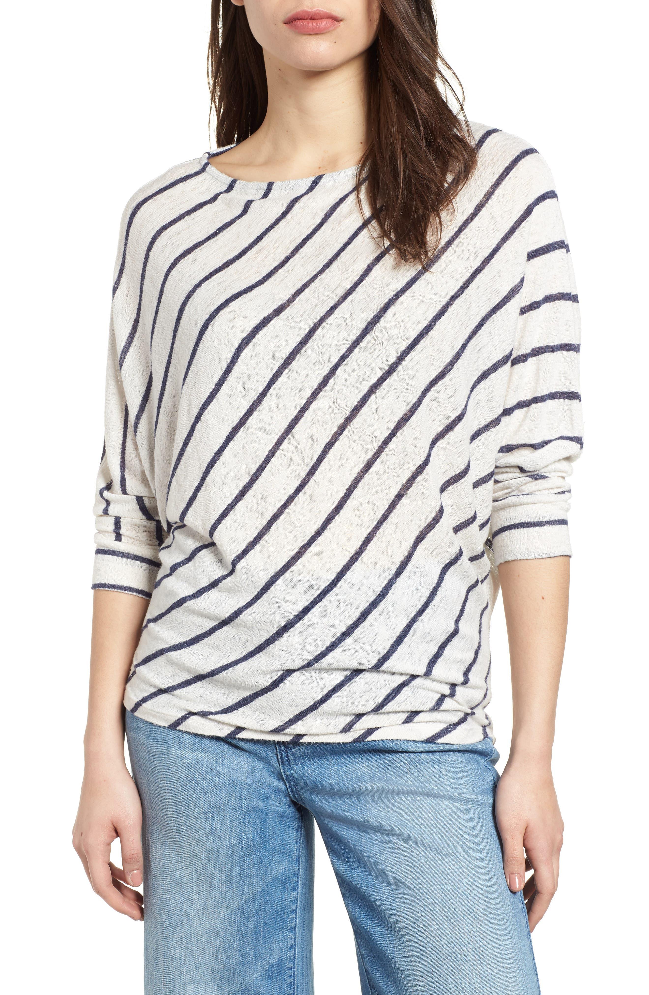 Stripe Dolman Sleeve Top,                         Main,                         color, Cream