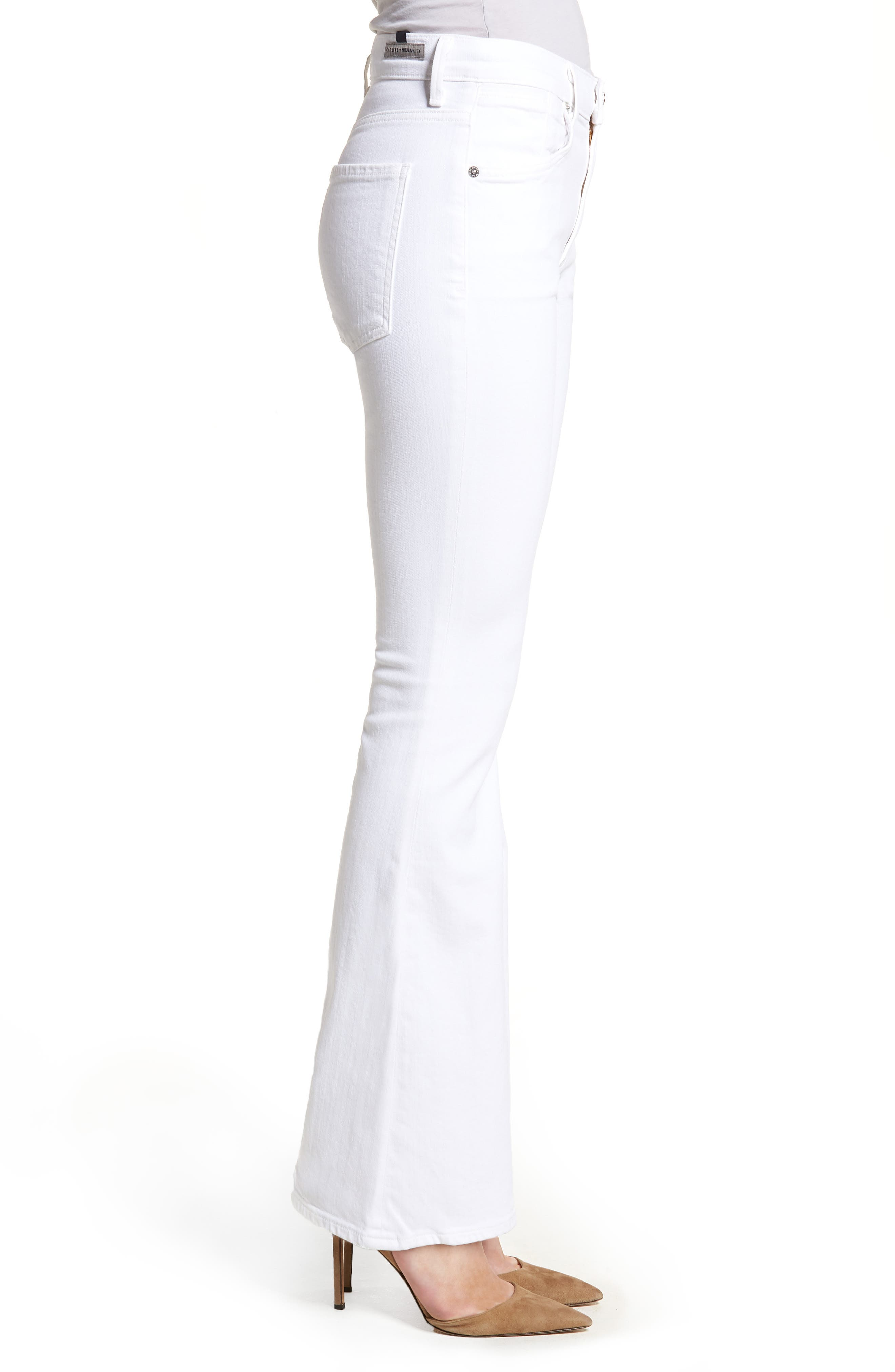 Fleetwood Flare Jeans,                             Alternate thumbnail 3, color,                             Optic White