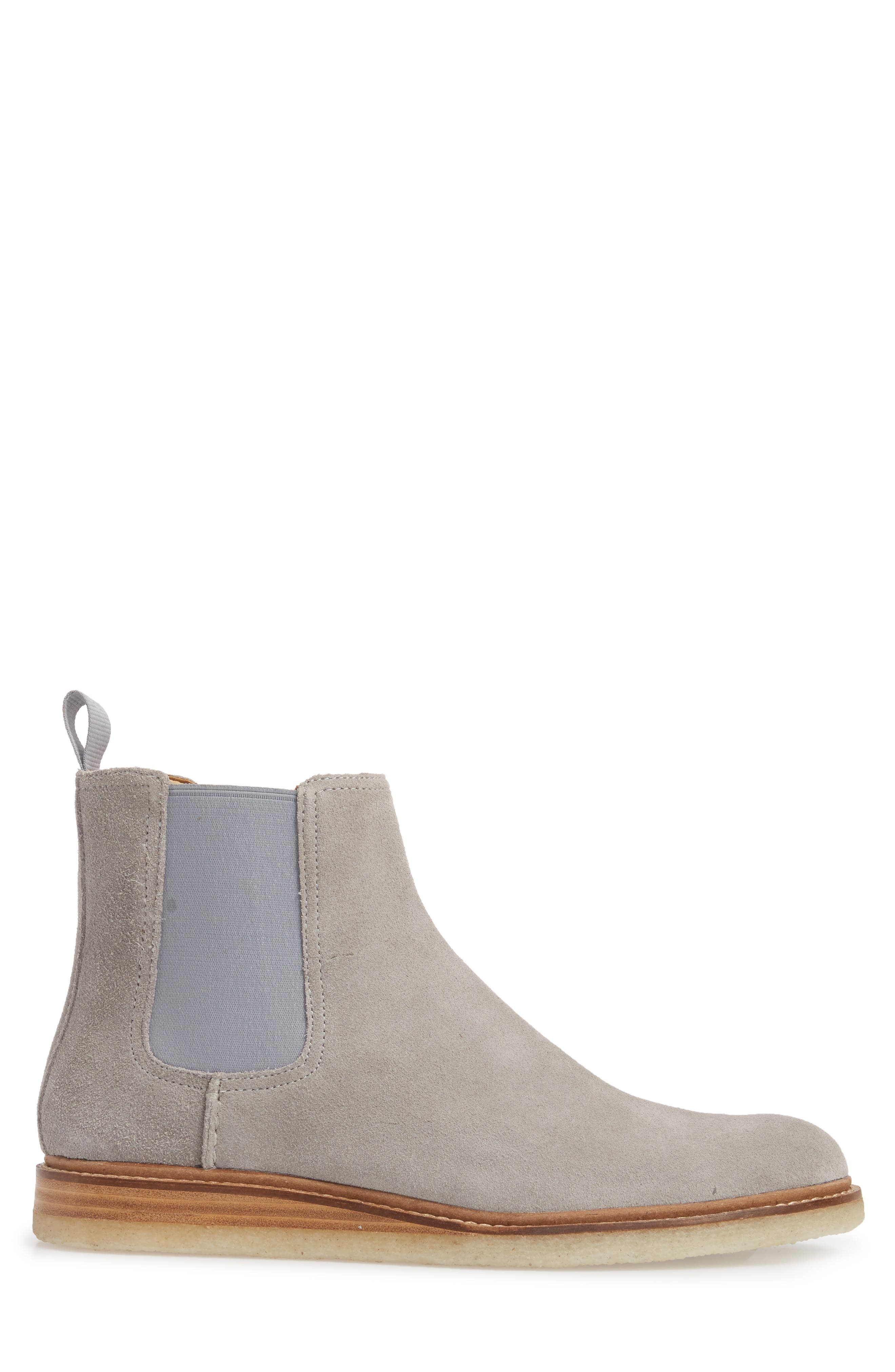 Gold Cup Crepe Chelsea Boot,                             Alternate thumbnail 3, color,                             Grey Leather/ Suede