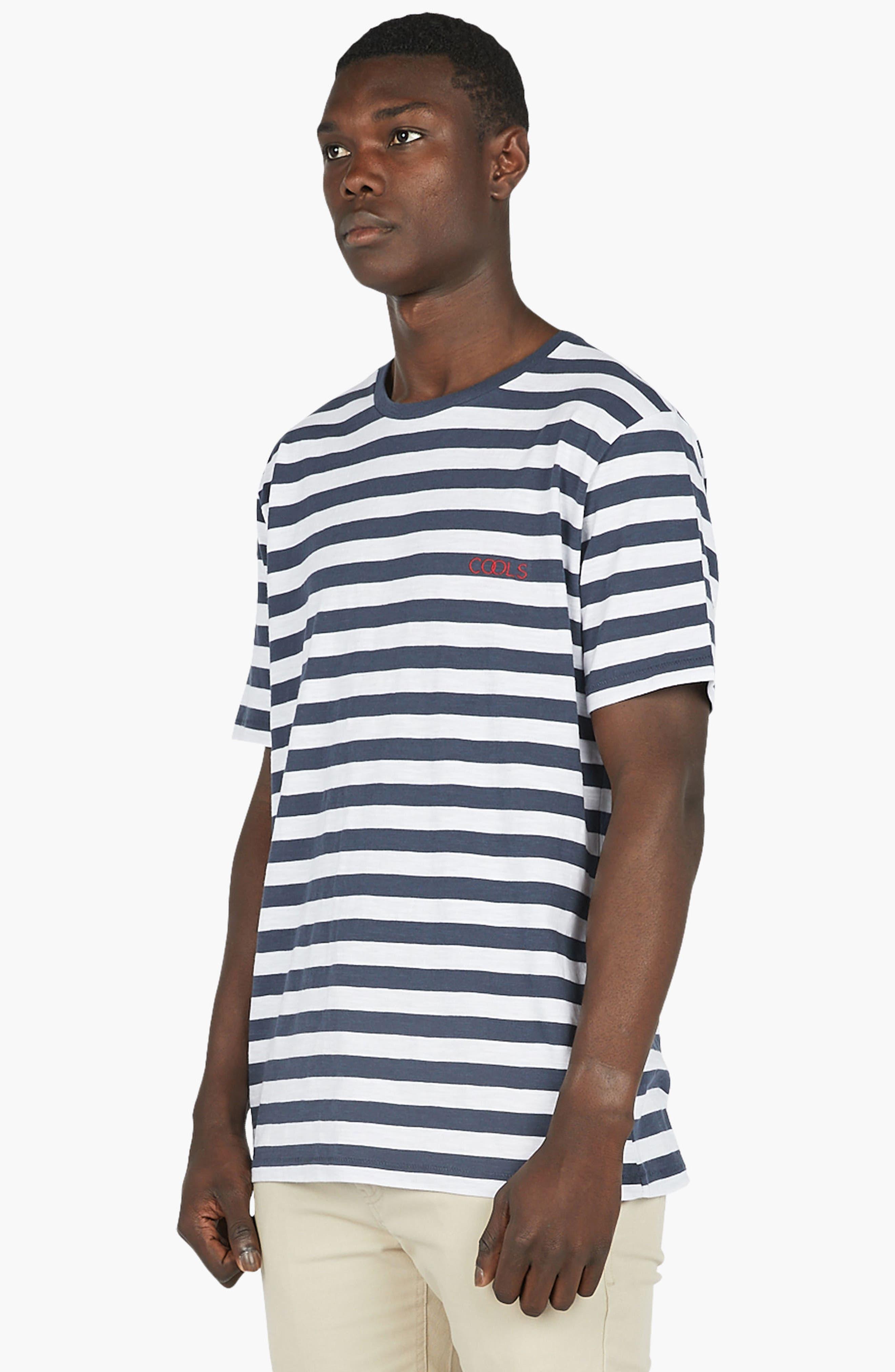 Logo Embroidered T-Shirt,                             Alternate thumbnail 4, color,                             Navy Stripe