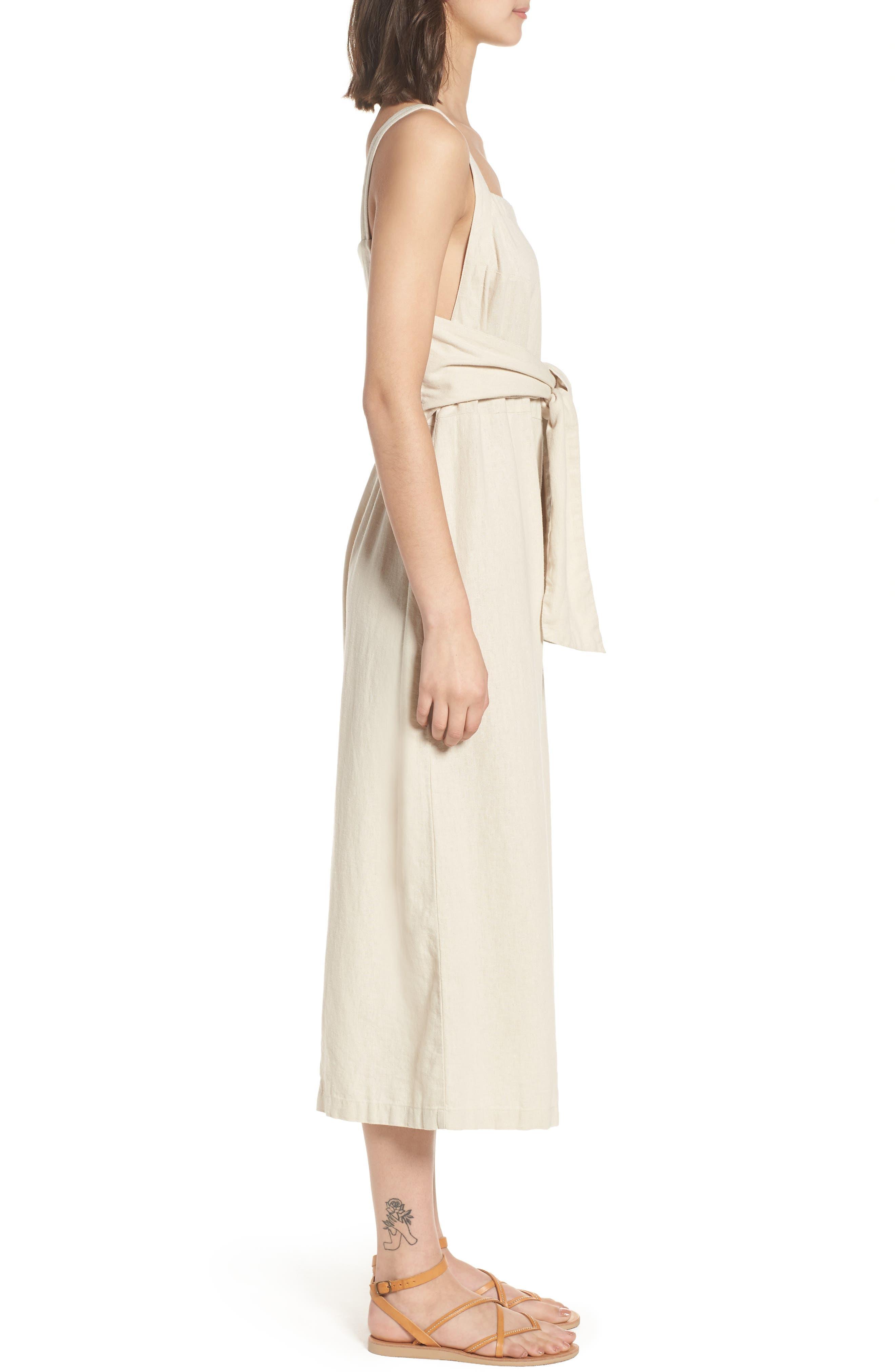 Linen Blend Tie Front Crop Jumpsuit,                             Alternate thumbnail 3, color,                             Beige Beach