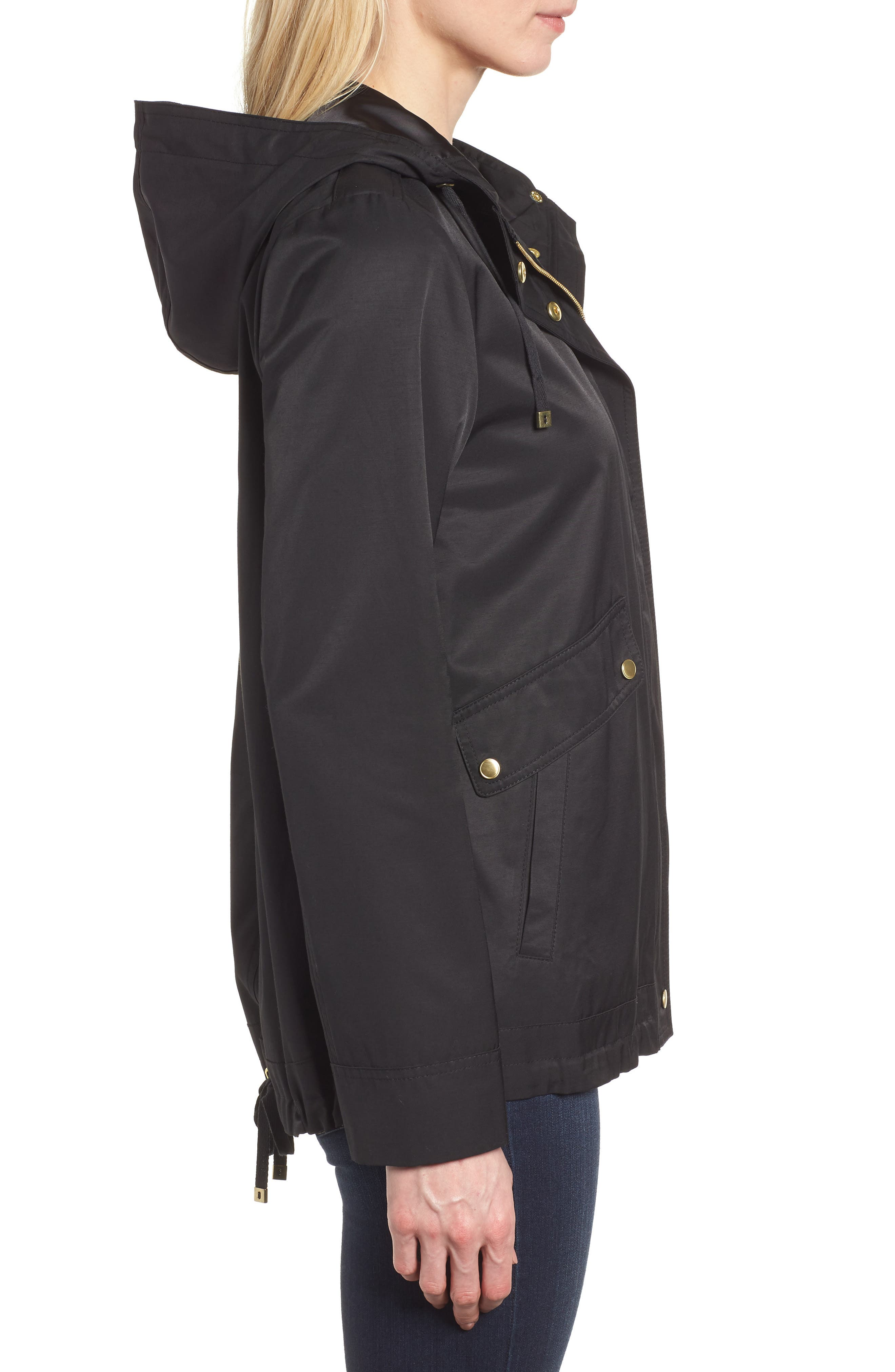 A-Line Jacket with Hood,                             Alternate thumbnail 3, color,                             Black