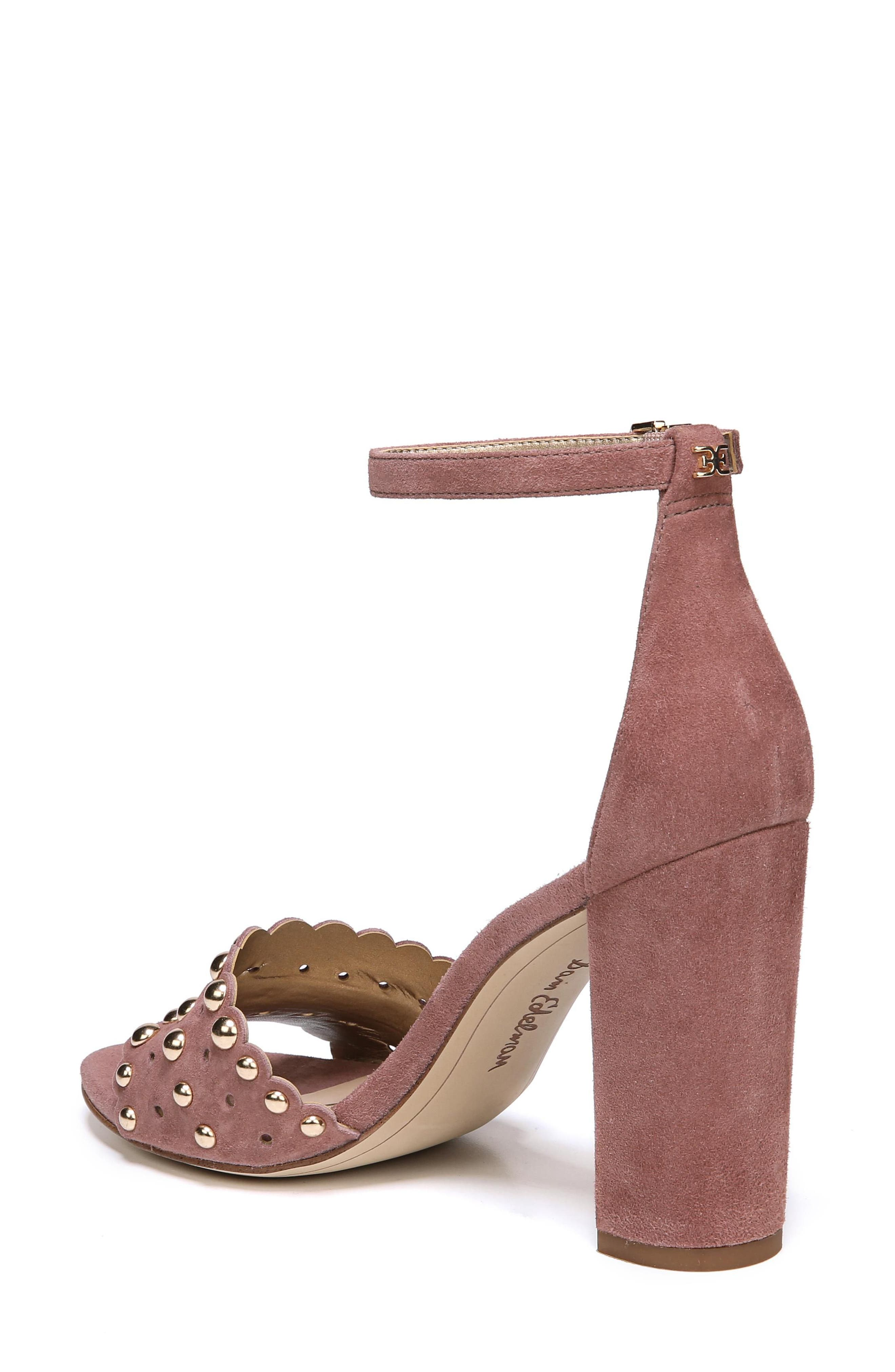 Yaria Studded Block Heel Sandal,                             Alternate thumbnail 2, color,                             Dusty Rose Suede