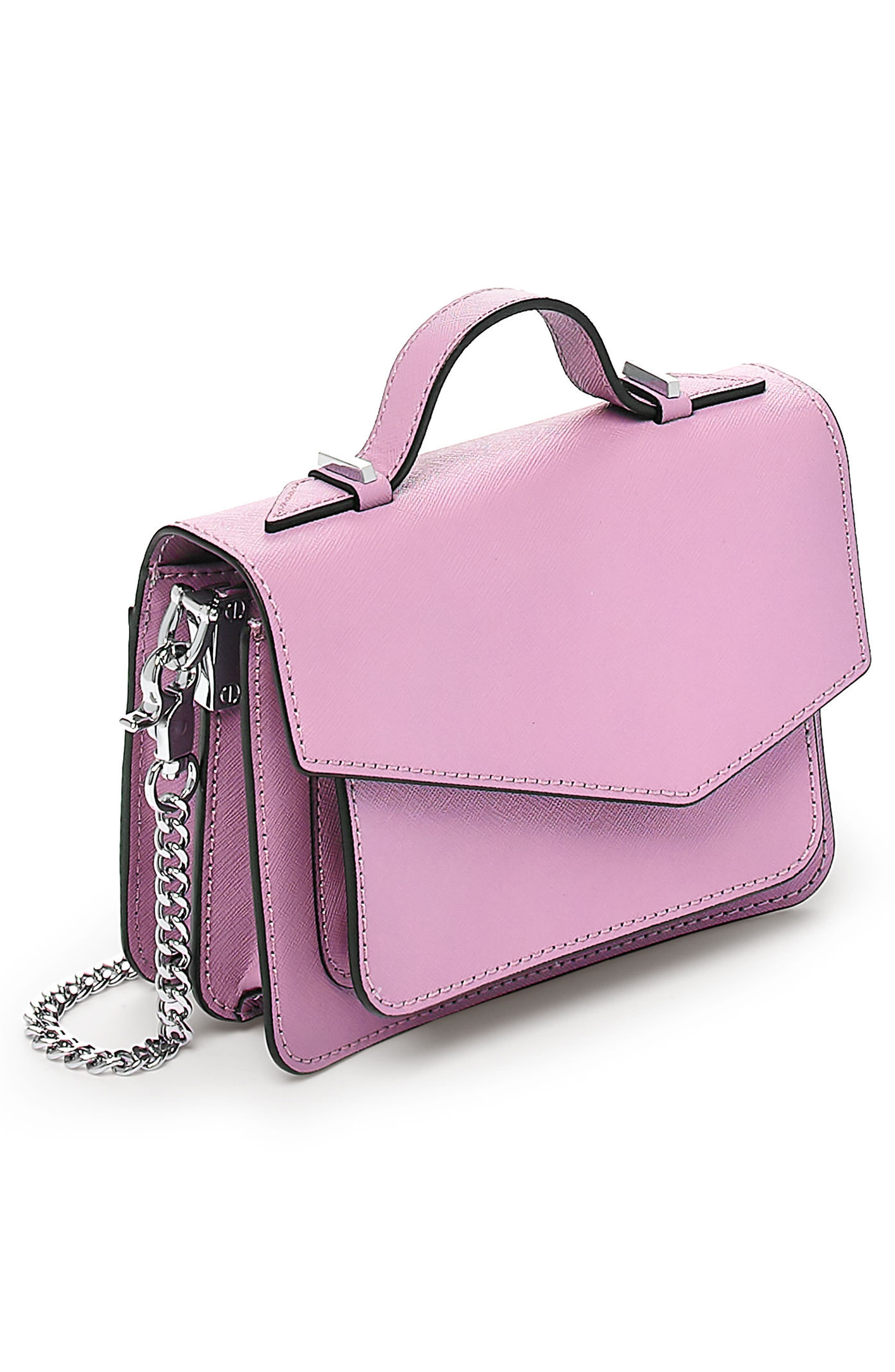 Mini Cobble Hill Calfskin Leather Crossbody Bag,                             Alternate thumbnail 4, color,                             Lilac