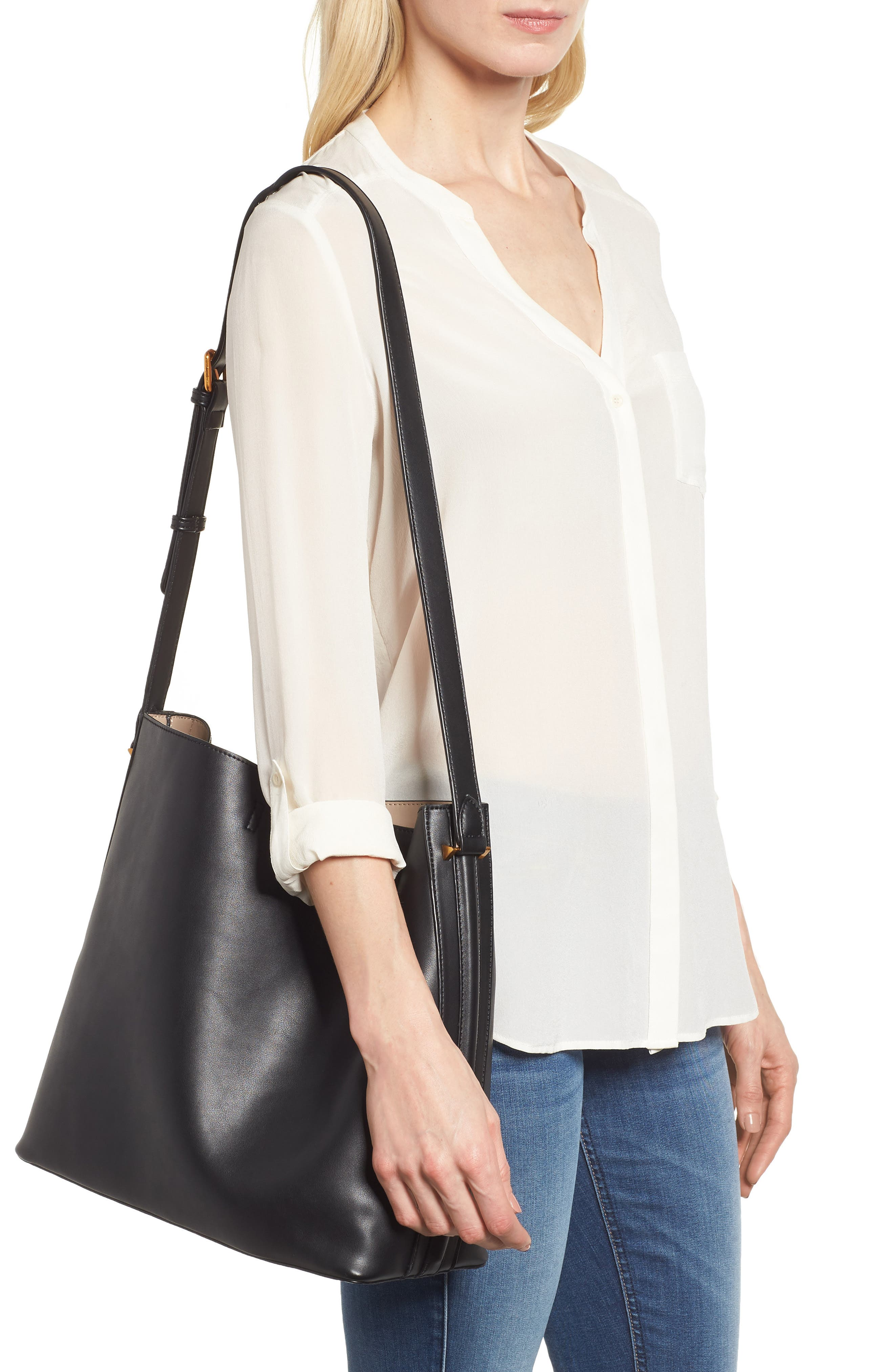 Faux Leather Bucket Tote,                             Alternate thumbnail 2, color,                             Black