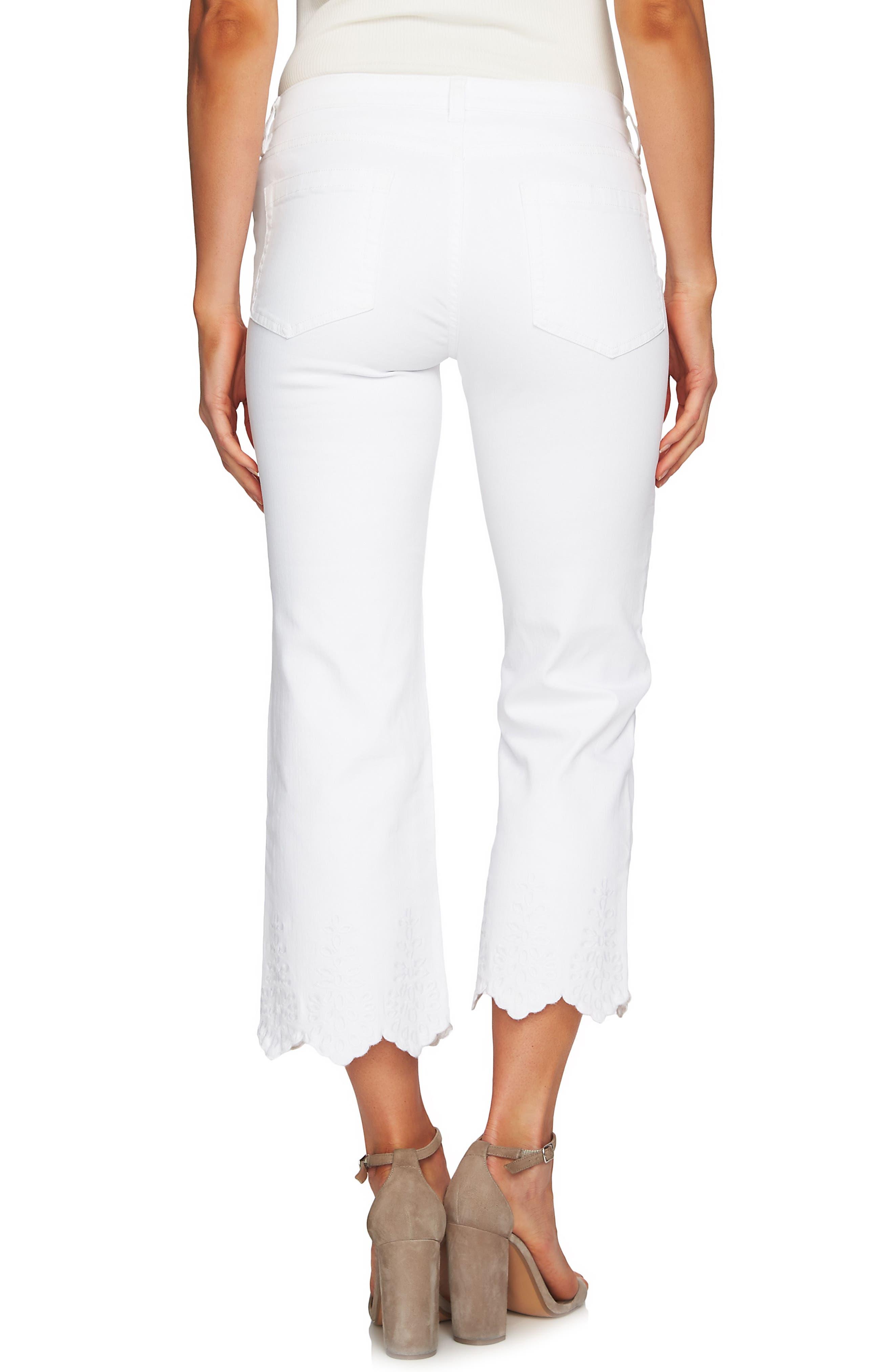 Classic Lace Hem Skinny Jeans,                             Alternate thumbnail 2, color,                             Ultra White