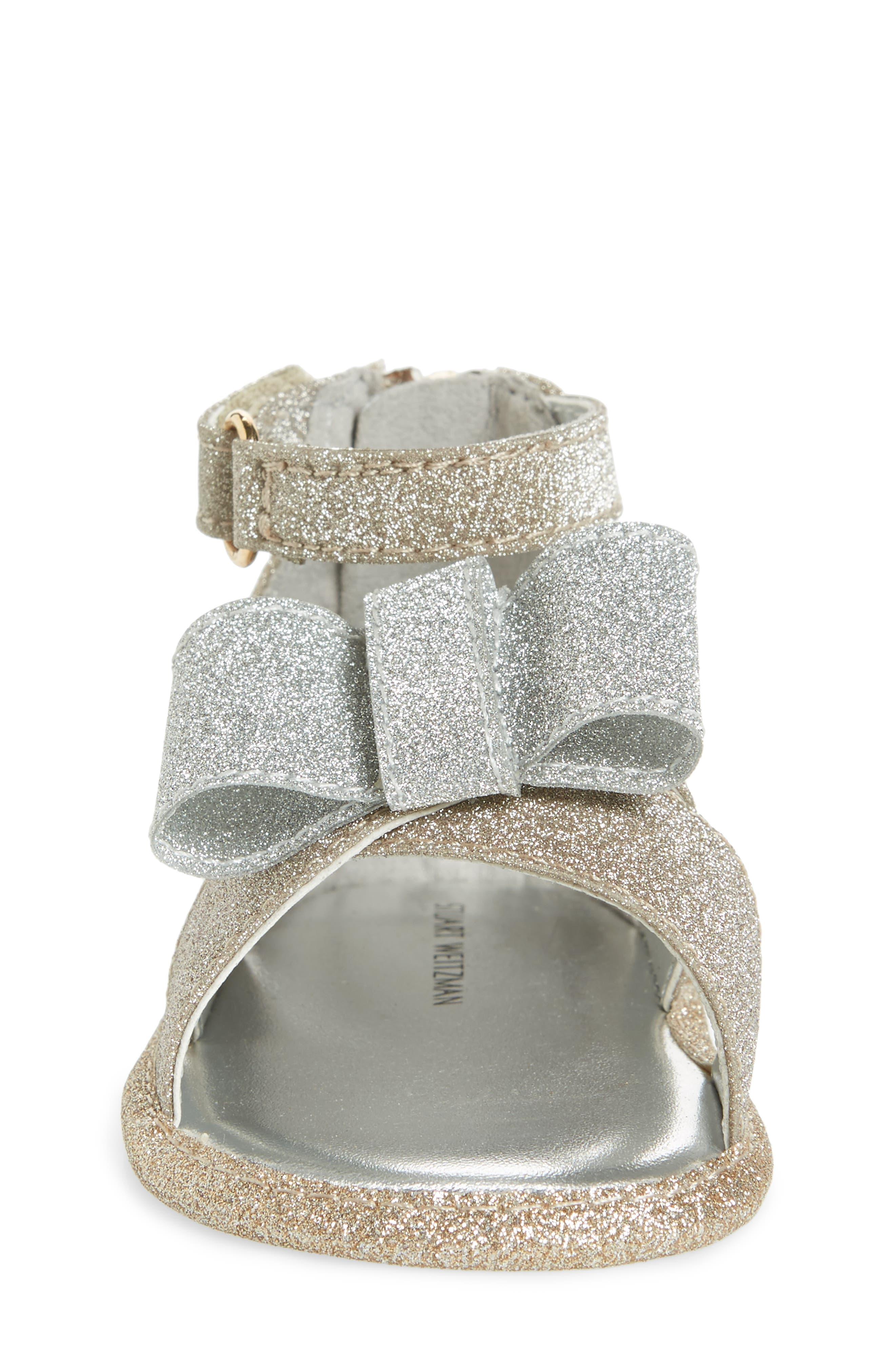 Selina Glitter Crib Shoe Sandal,                             Alternate thumbnail 4, color,                             Gold/ Silver