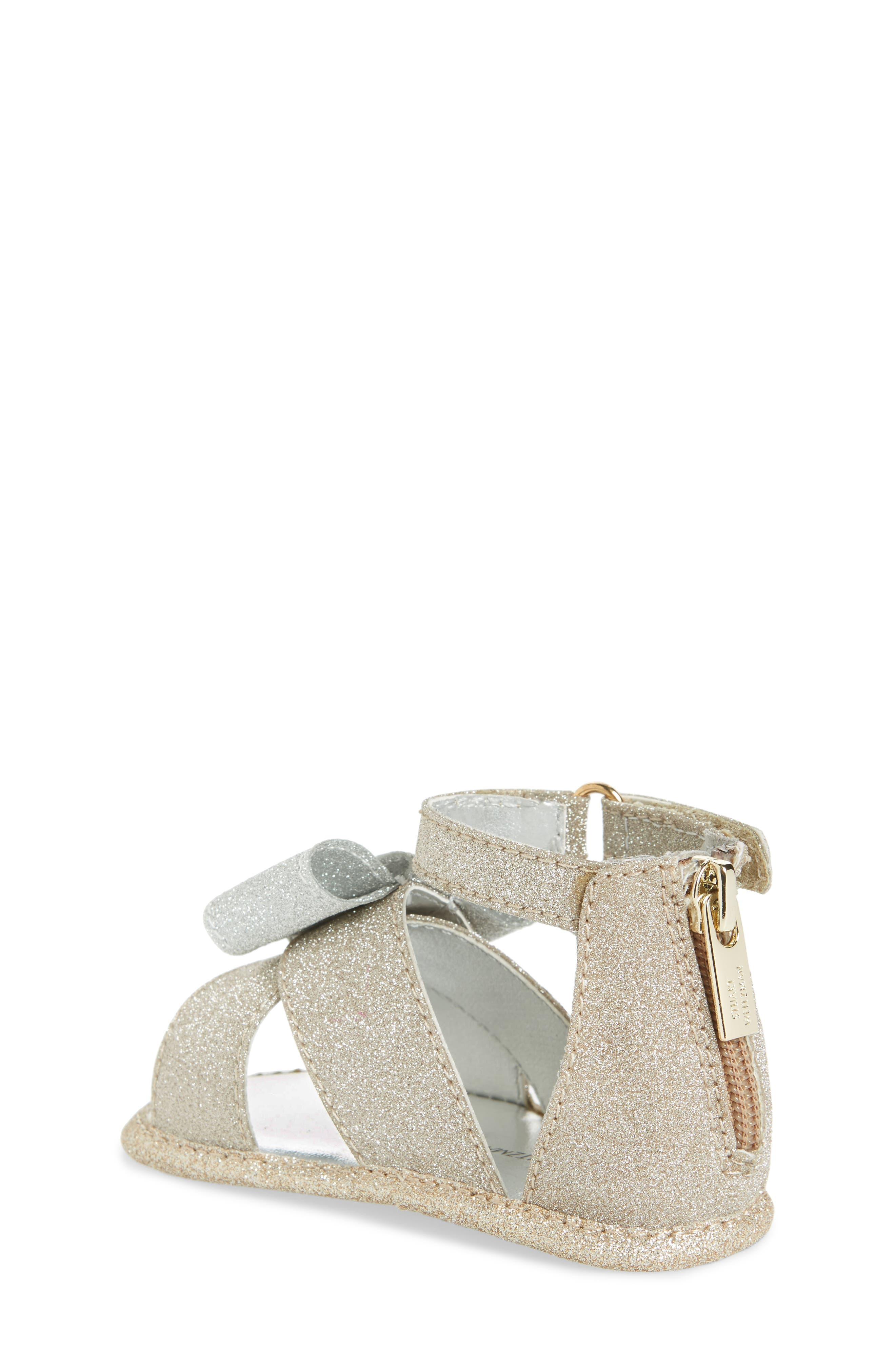 Selina Glitter Crib Shoe Sandal,                             Alternate thumbnail 2, color,                             Gold/ Silver