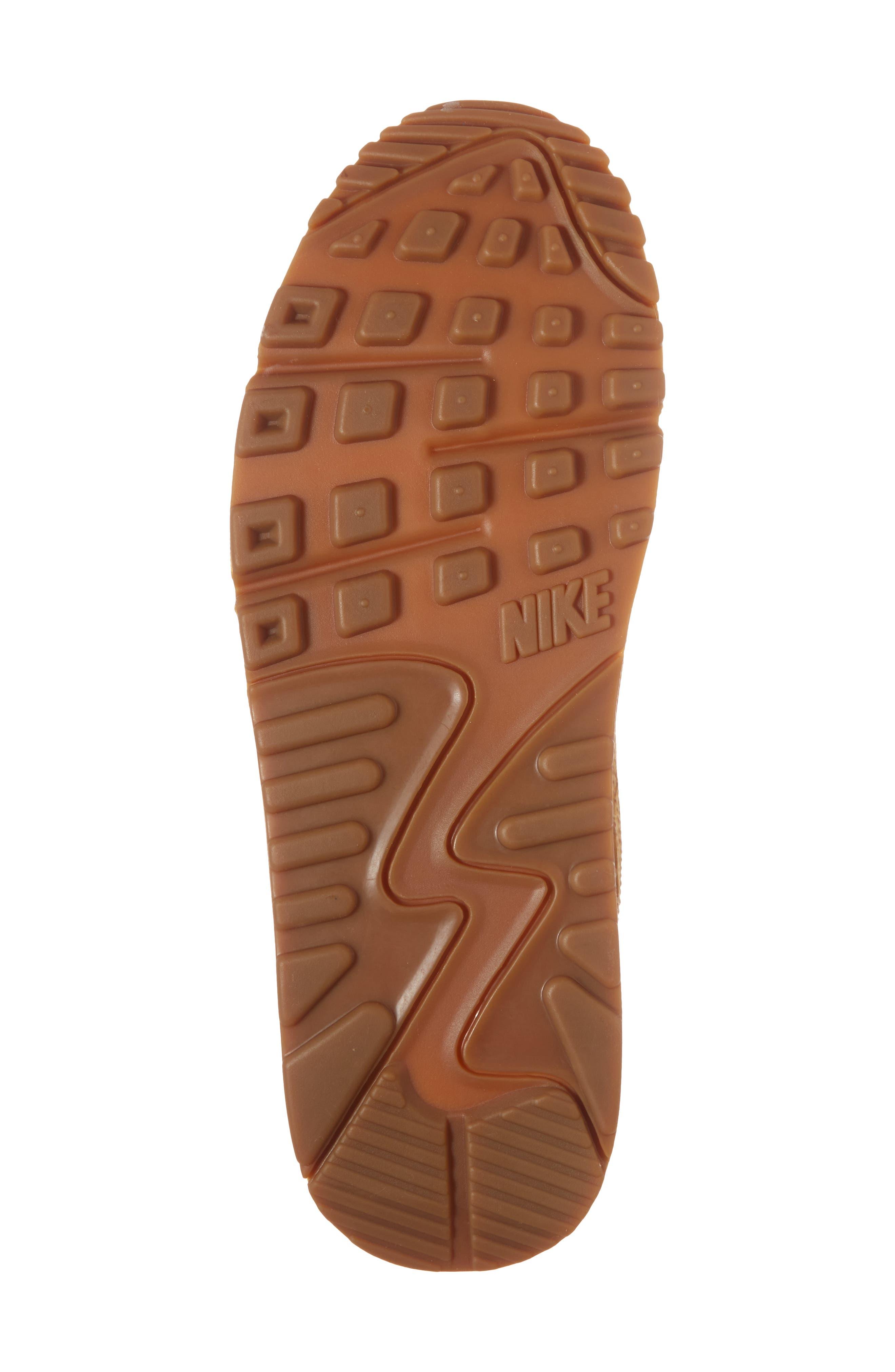 Air Max 90 Premium Sneaker,                             Alternate thumbnail 6, color,                             Tan/ Tan/ Elemental Gold