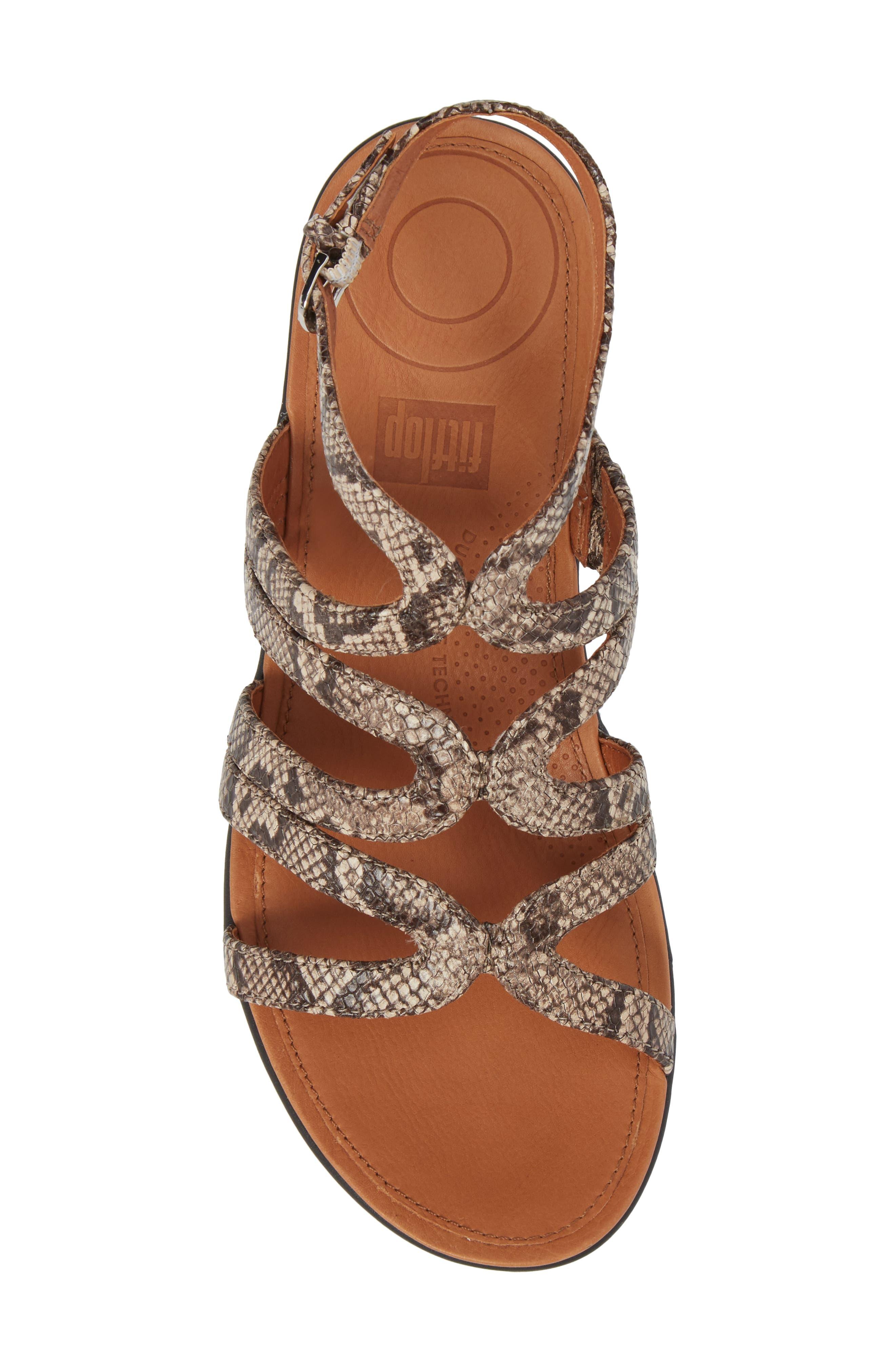 Strata Gladiator Sandal,                             Alternate thumbnail 5, color,                             Taupe Snake Print Leather