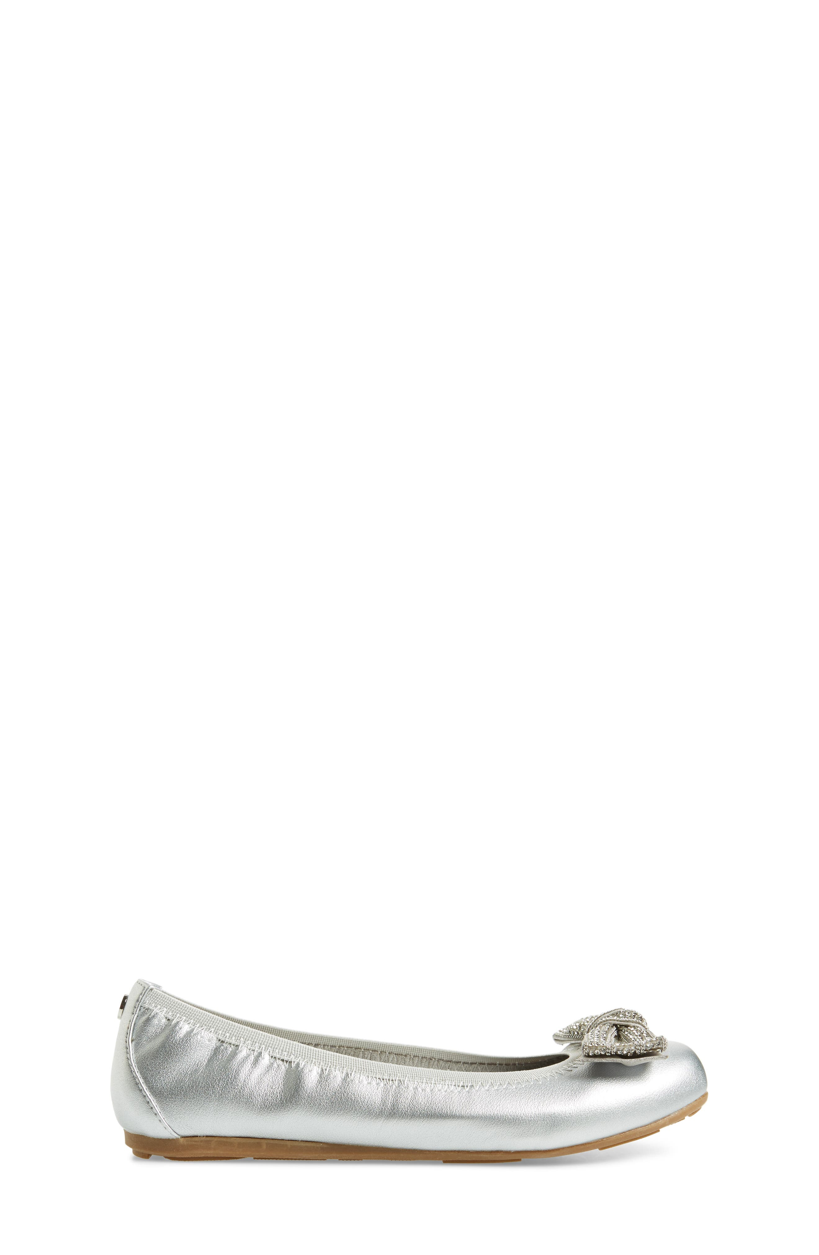 Fannie Embellished Bow Ballet Flat,                             Alternate thumbnail 3, color,                             Silver