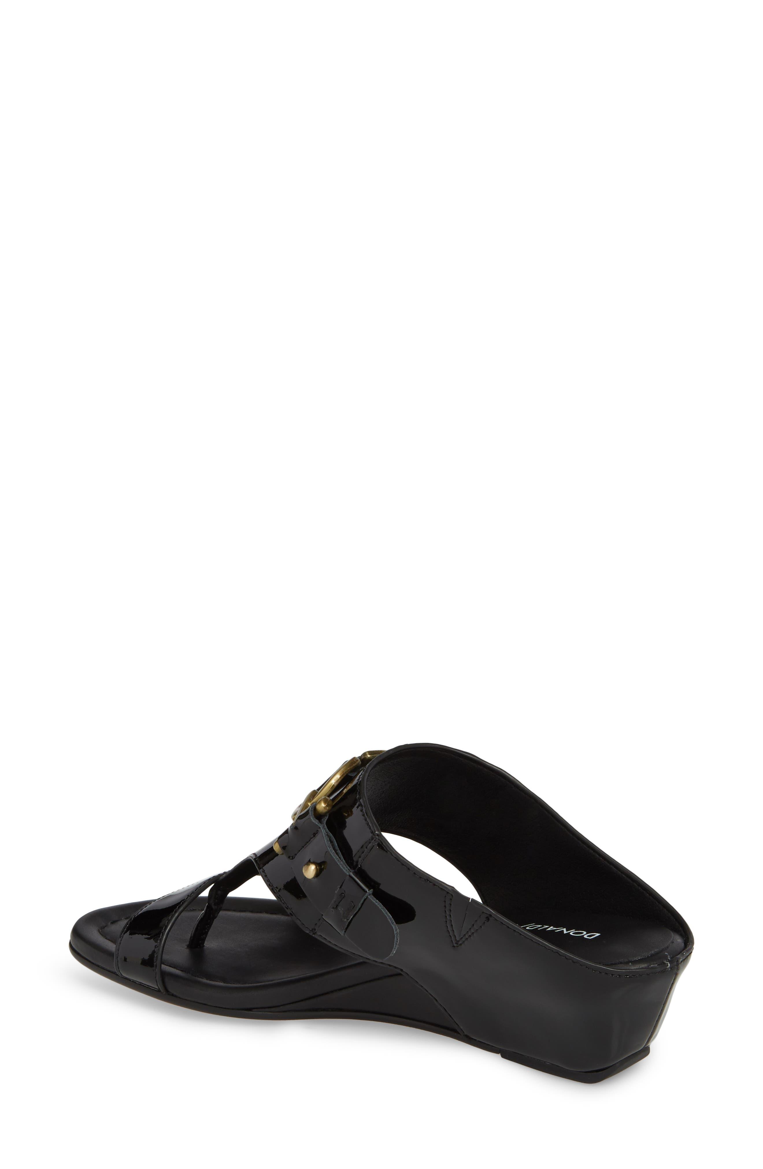 Dayna Wedge Sandal,                             Alternate thumbnail 2, color,                             Black Leather