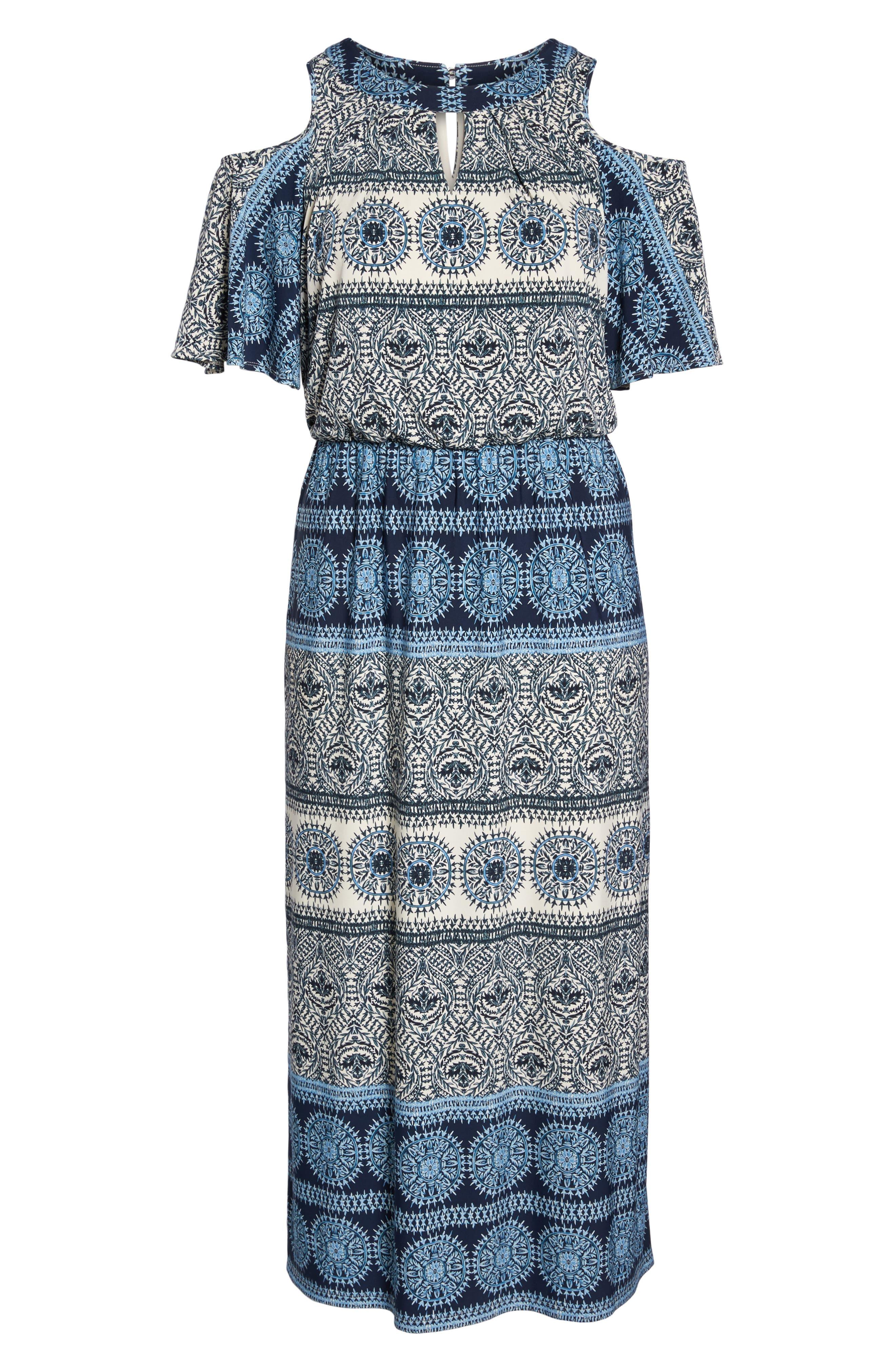 Print Cold Shoulder Blouson Maxi Dress,                             Alternate thumbnail 6, color,                             Ivory/ Blue