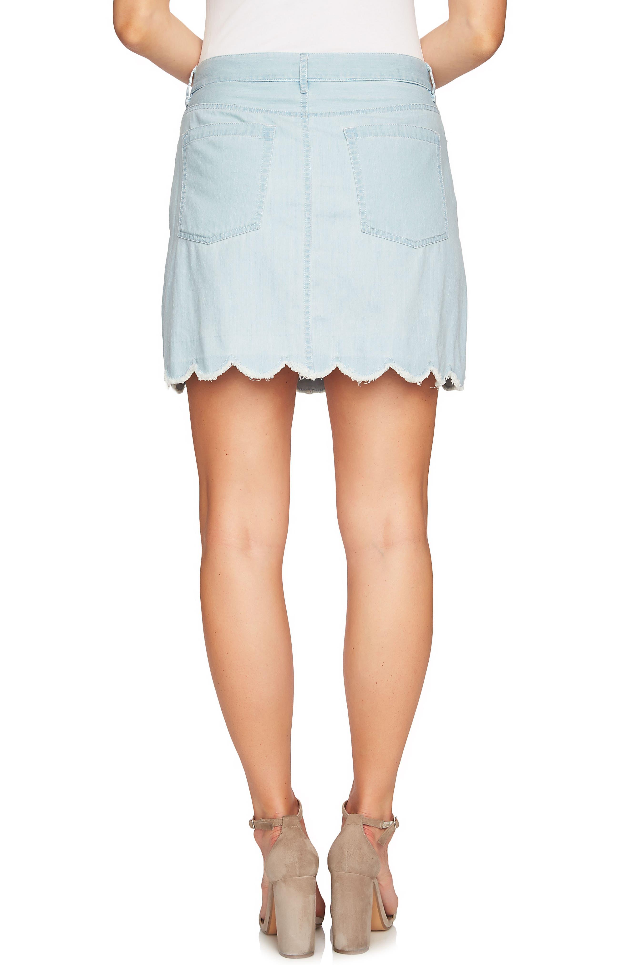 Scalloped Hem Denim Skirt,                             Alternate thumbnail 2, color,                             Ocean Drift