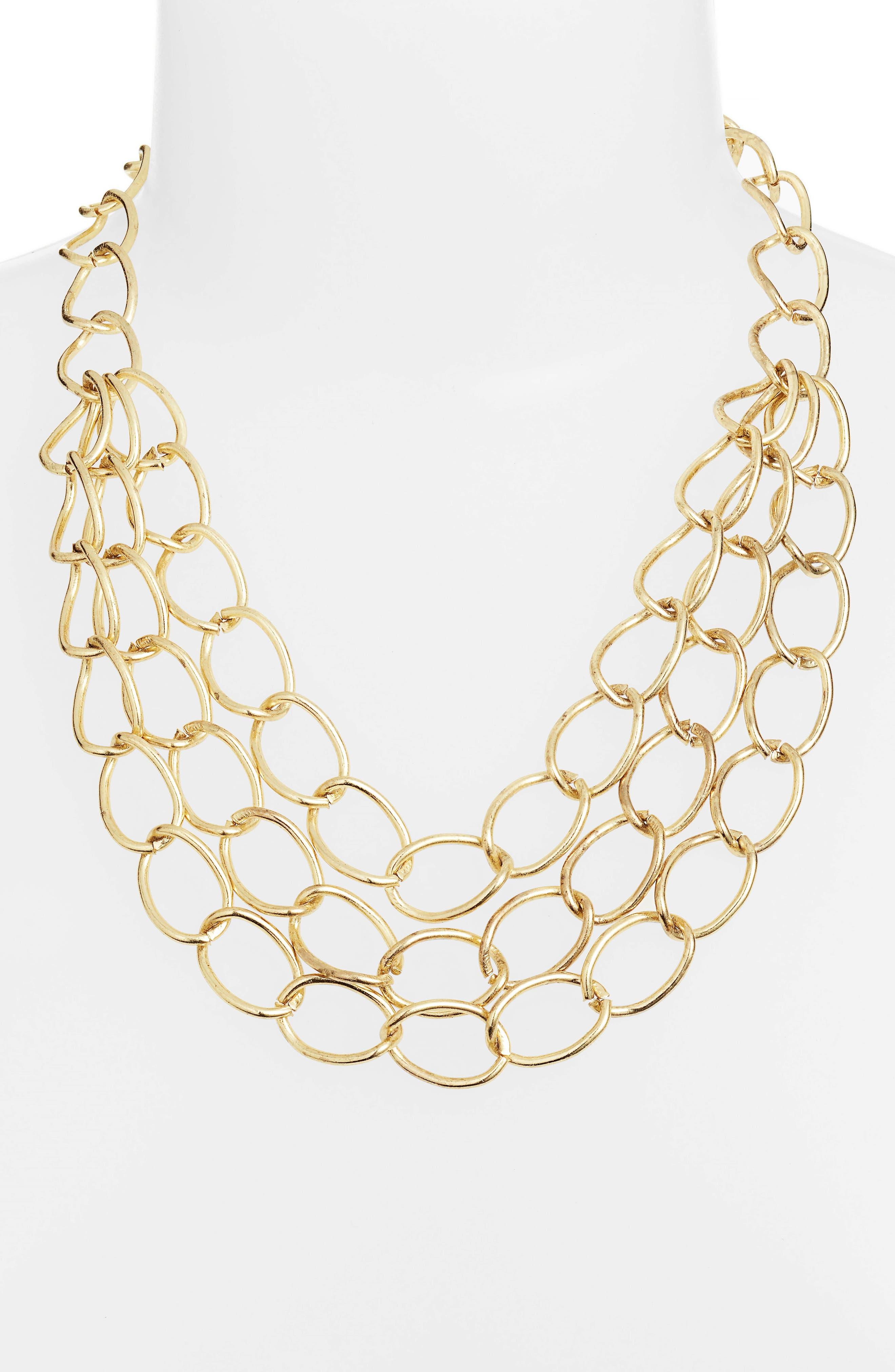 Grace Chain Link Statement Necklace,                             Alternate thumbnail 2, color,                             Gold