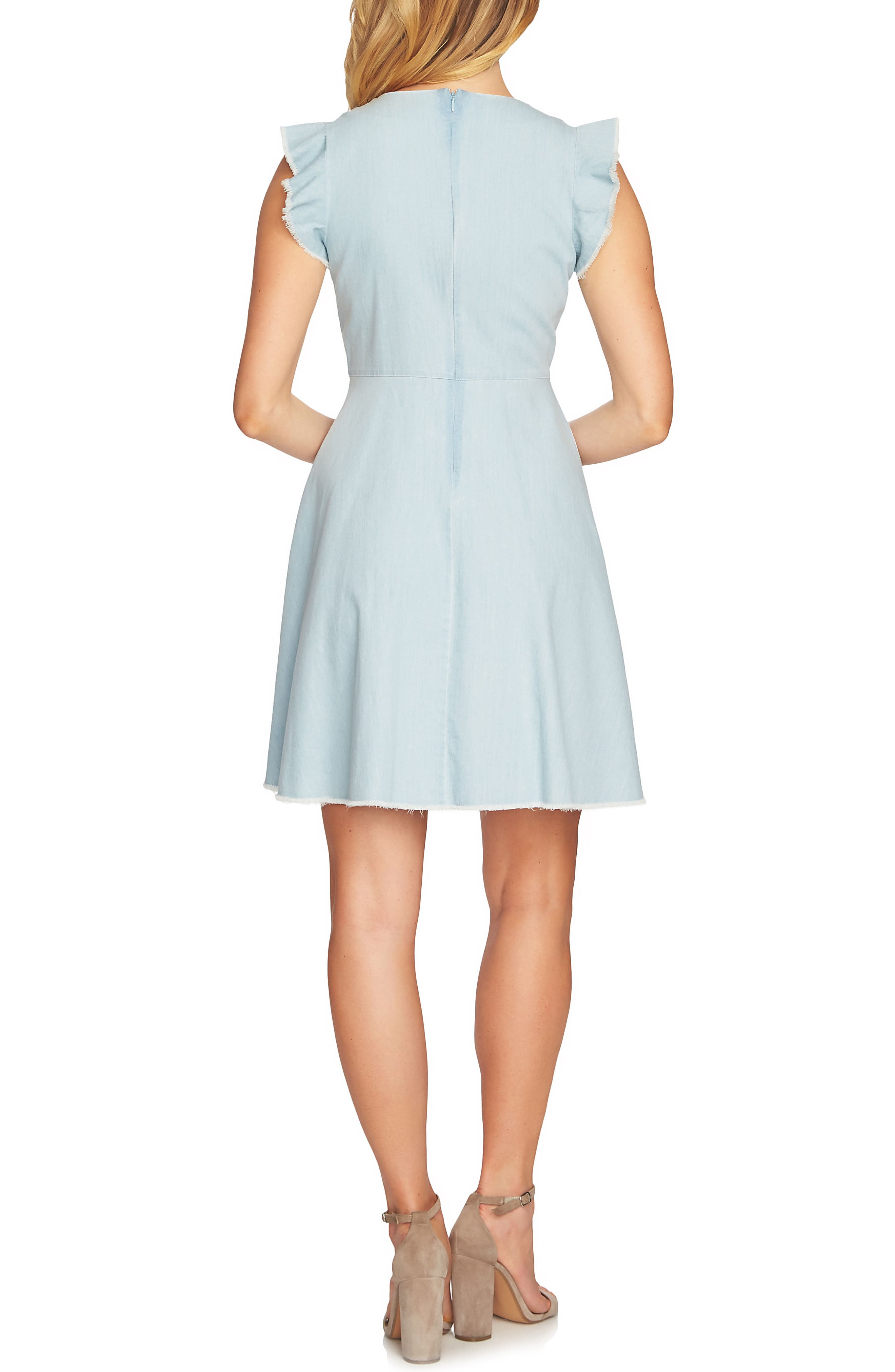 Pintuck Cotton Denim Fit and Flare Dress,                             Alternate thumbnail 2, color,                             Ocean Drift
