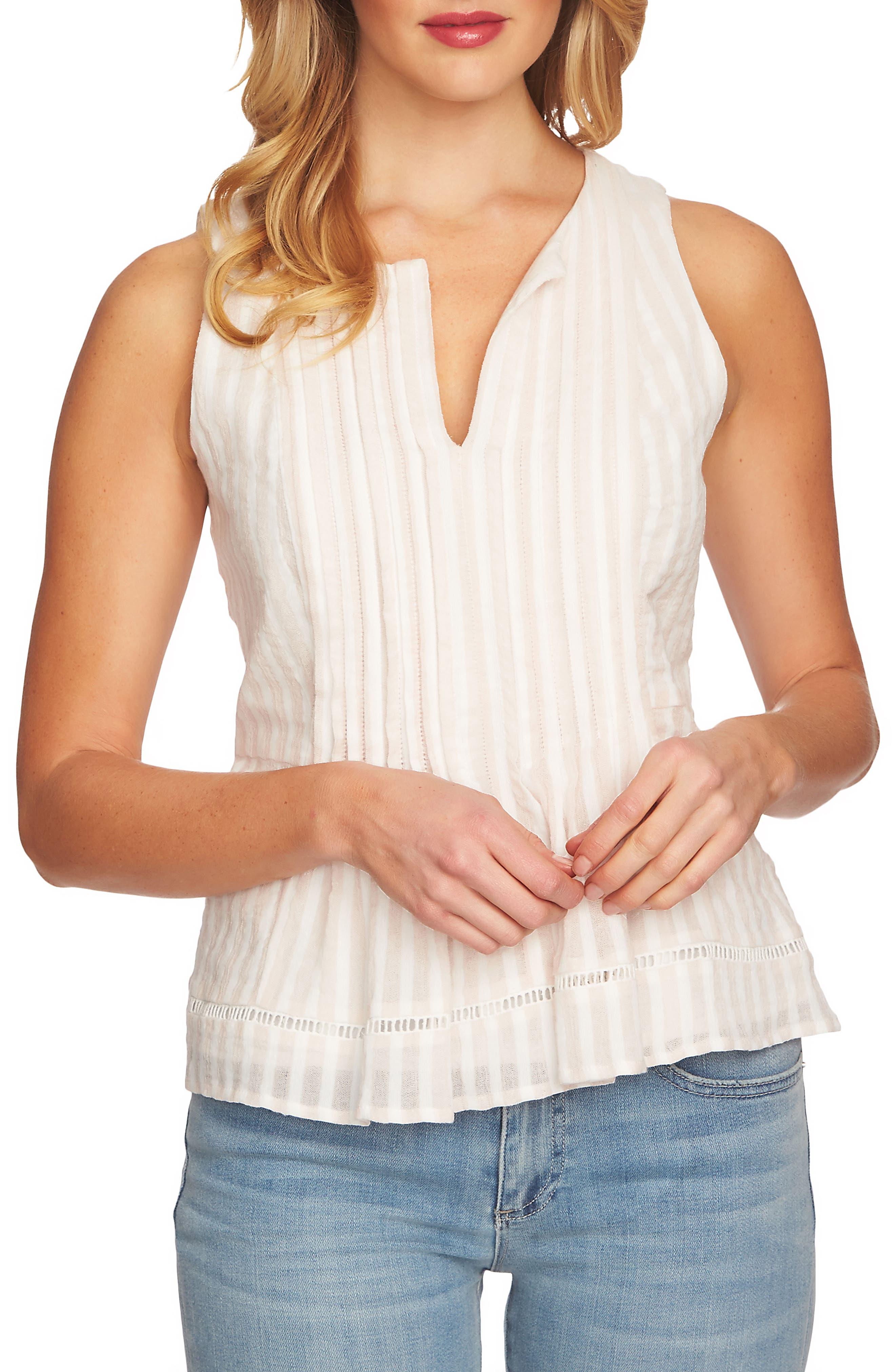 CeCe Striped Pintuck Cotton Blouse