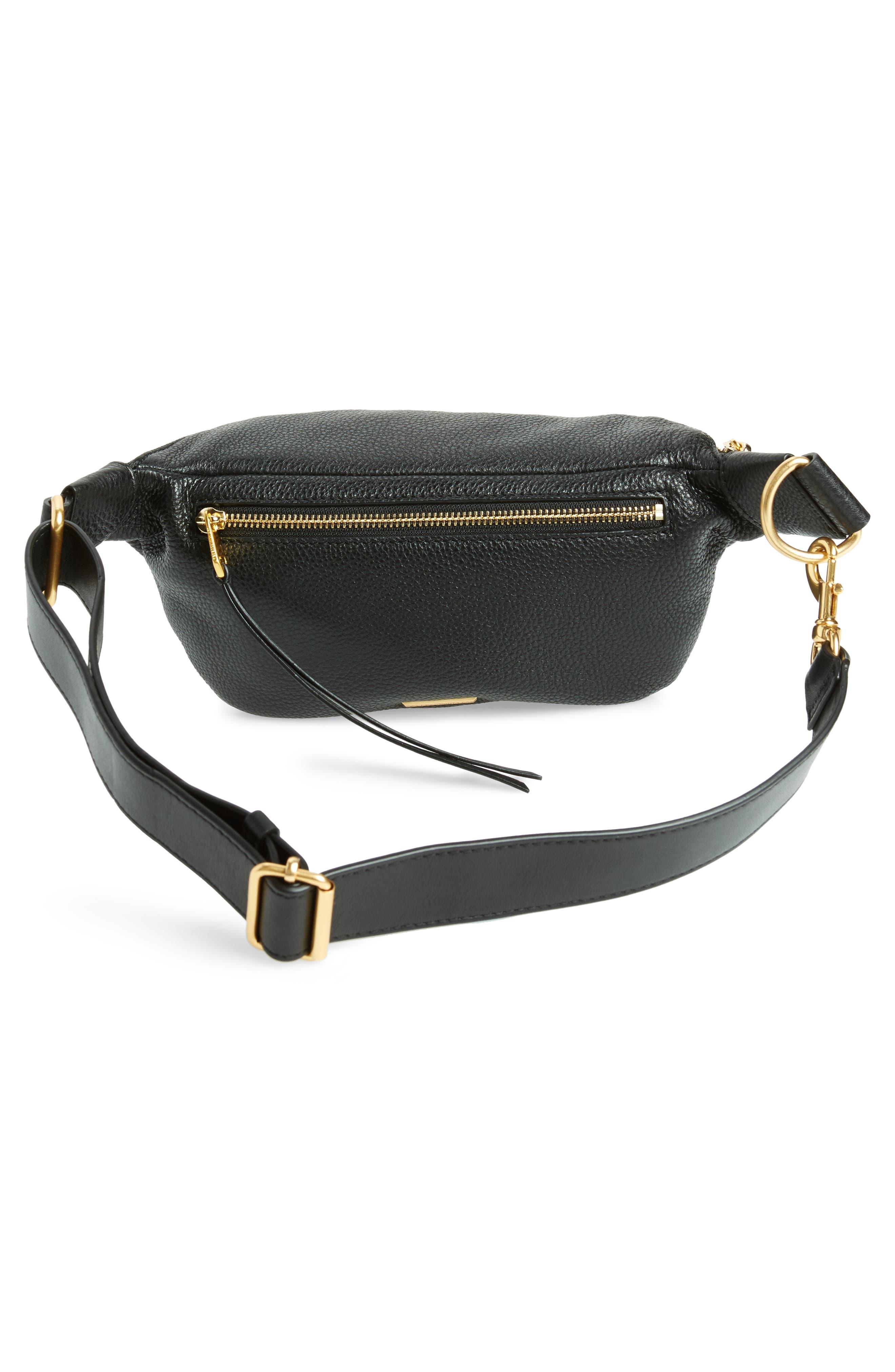 Bree Leather Belt Bag,                             Alternate thumbnail 4, color,                             Black