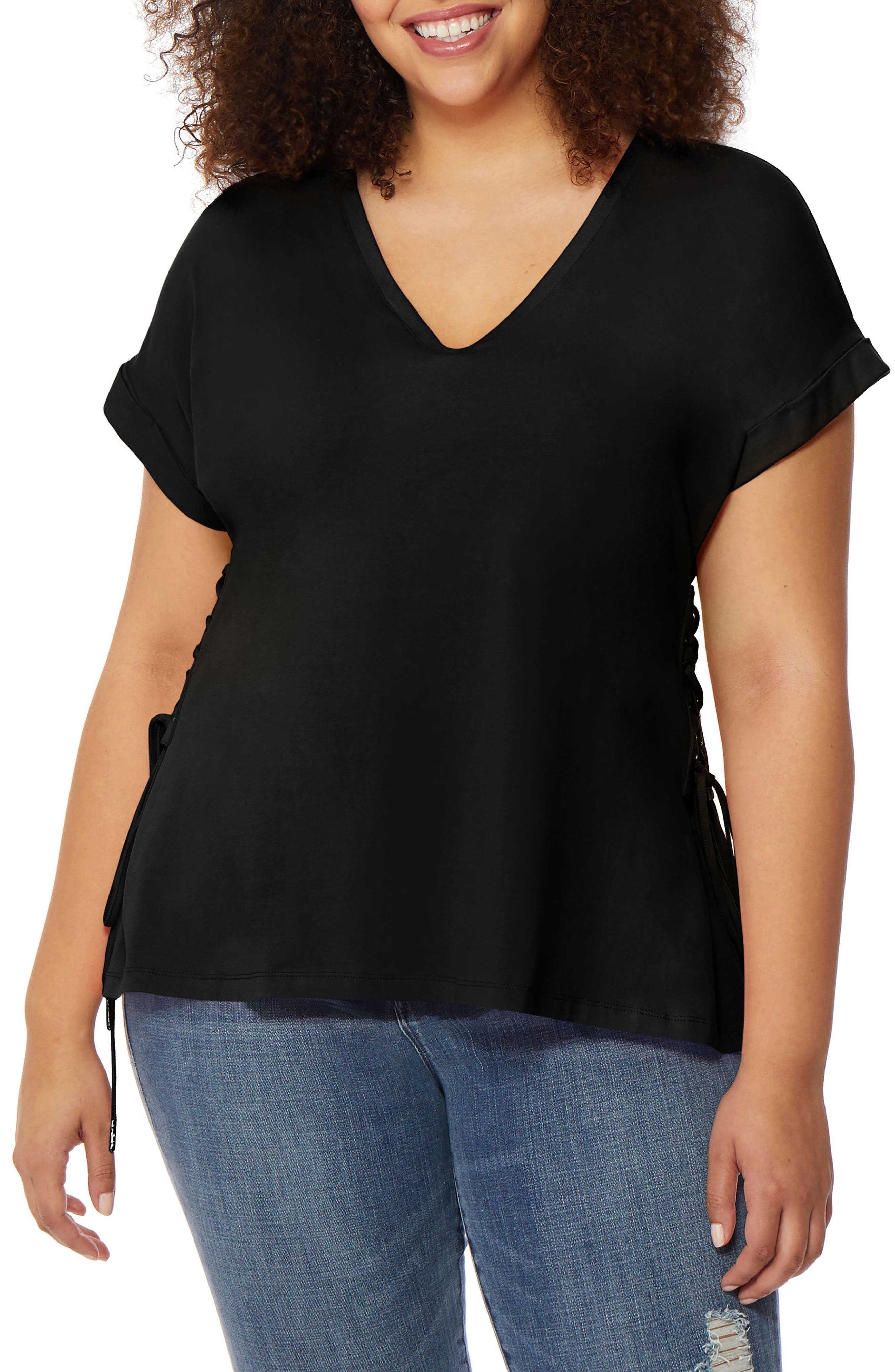 V-Neck Lace-Up Tee,                         Main,                         color, Black