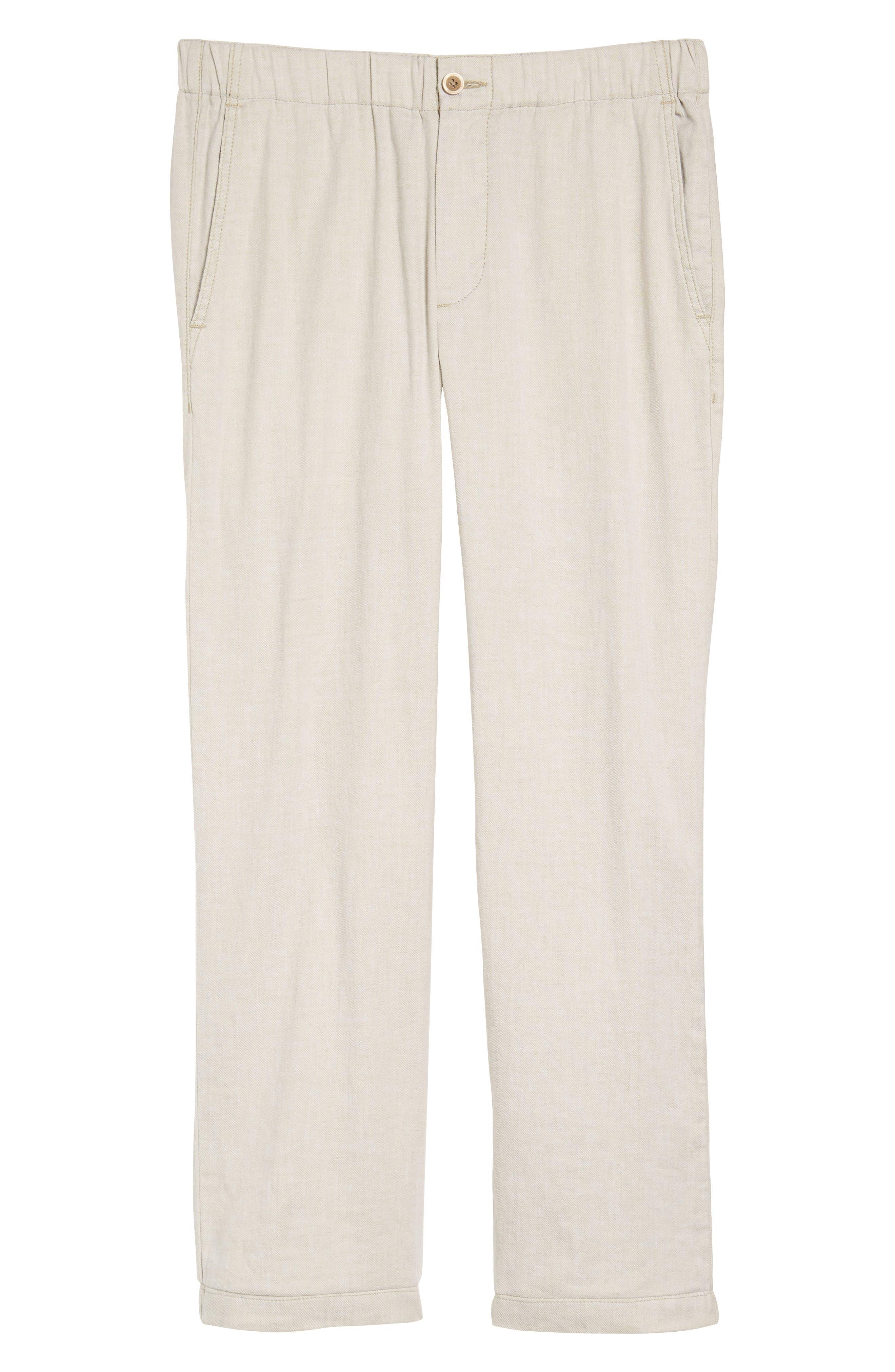 Beach Linen Blend Pants,                             Alternate thumbnail 6, color,                             Stone Khaki