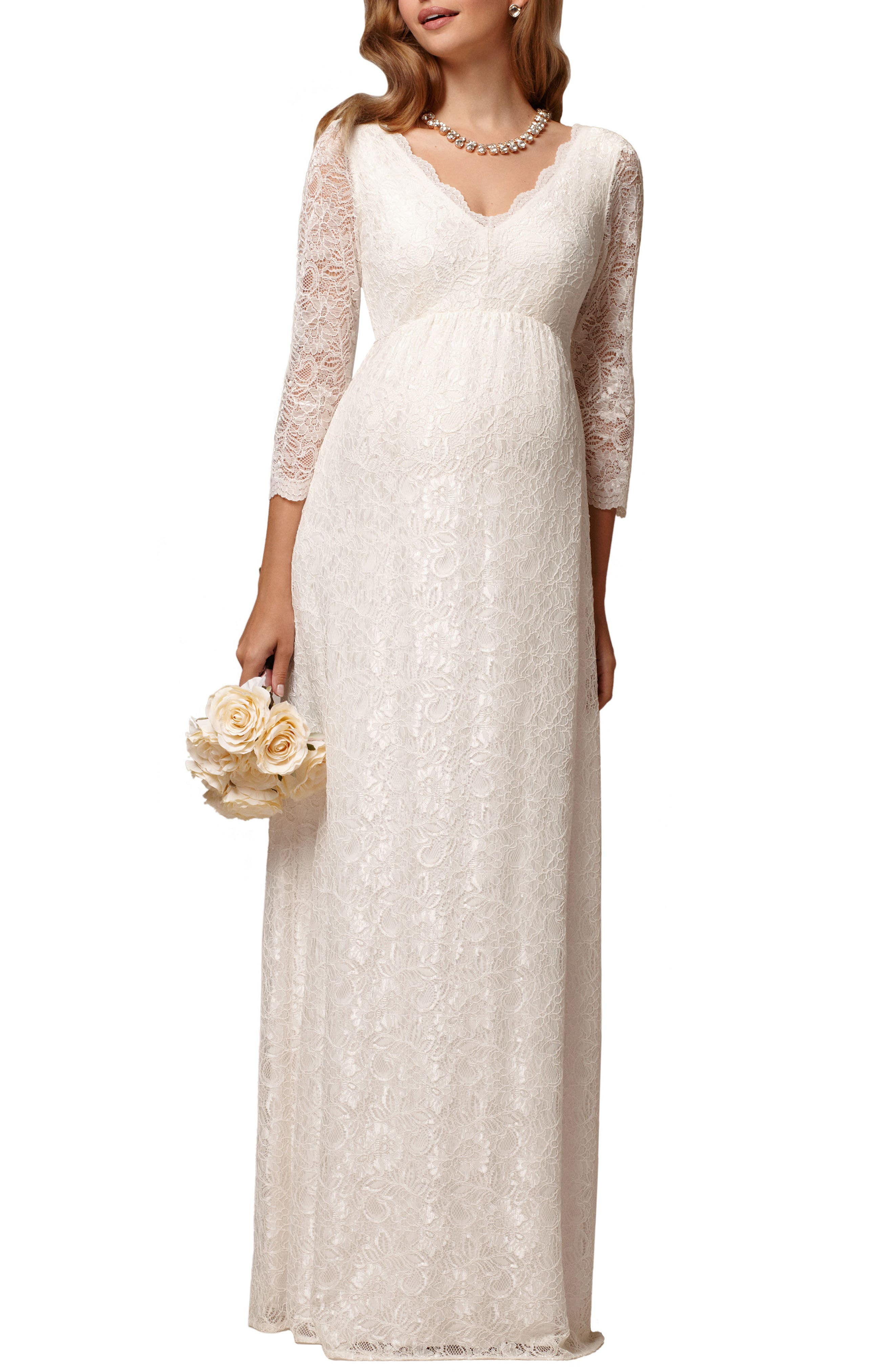 Chloe Lace Maternity Gown,                             Main thumbnail 1, color,                             Ivory