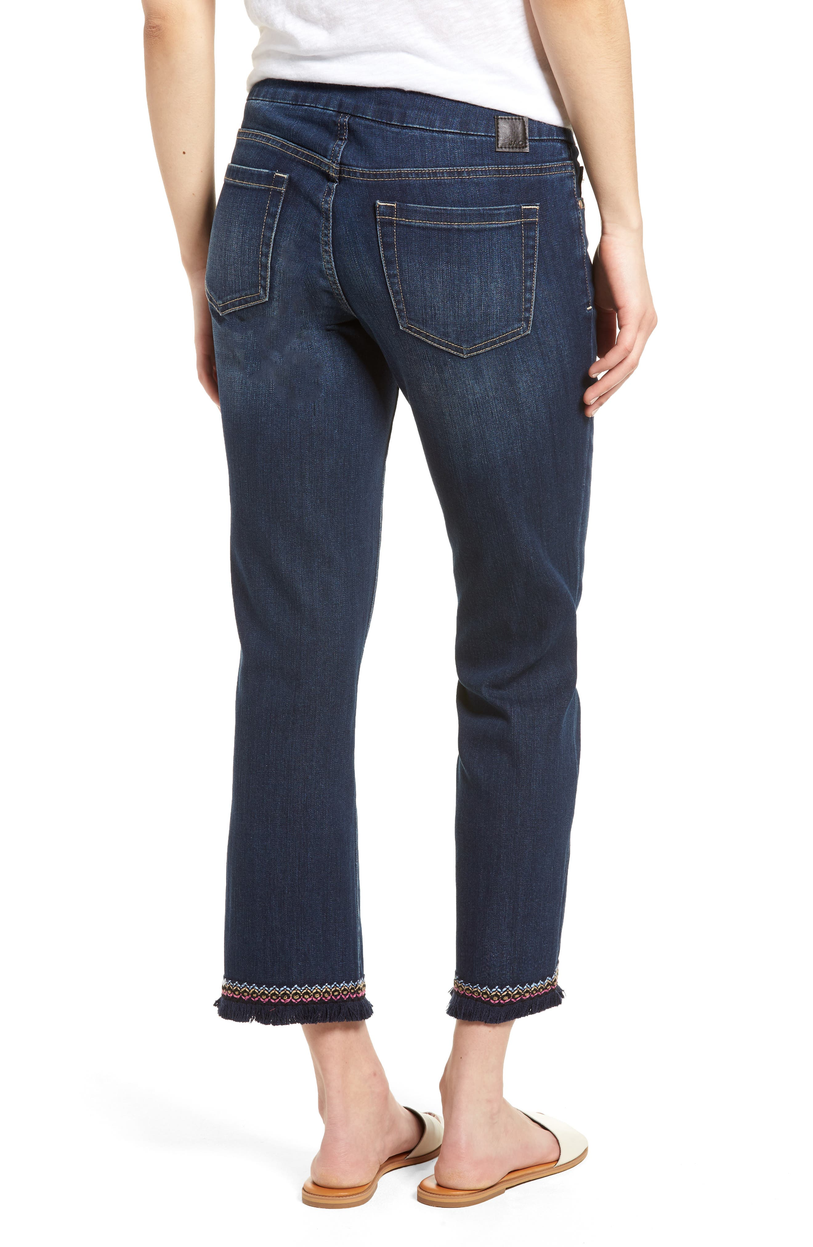 Peri Embroidery Fringe Jeans,                             Alternate thumbnail 2, color,                             Med Indigo