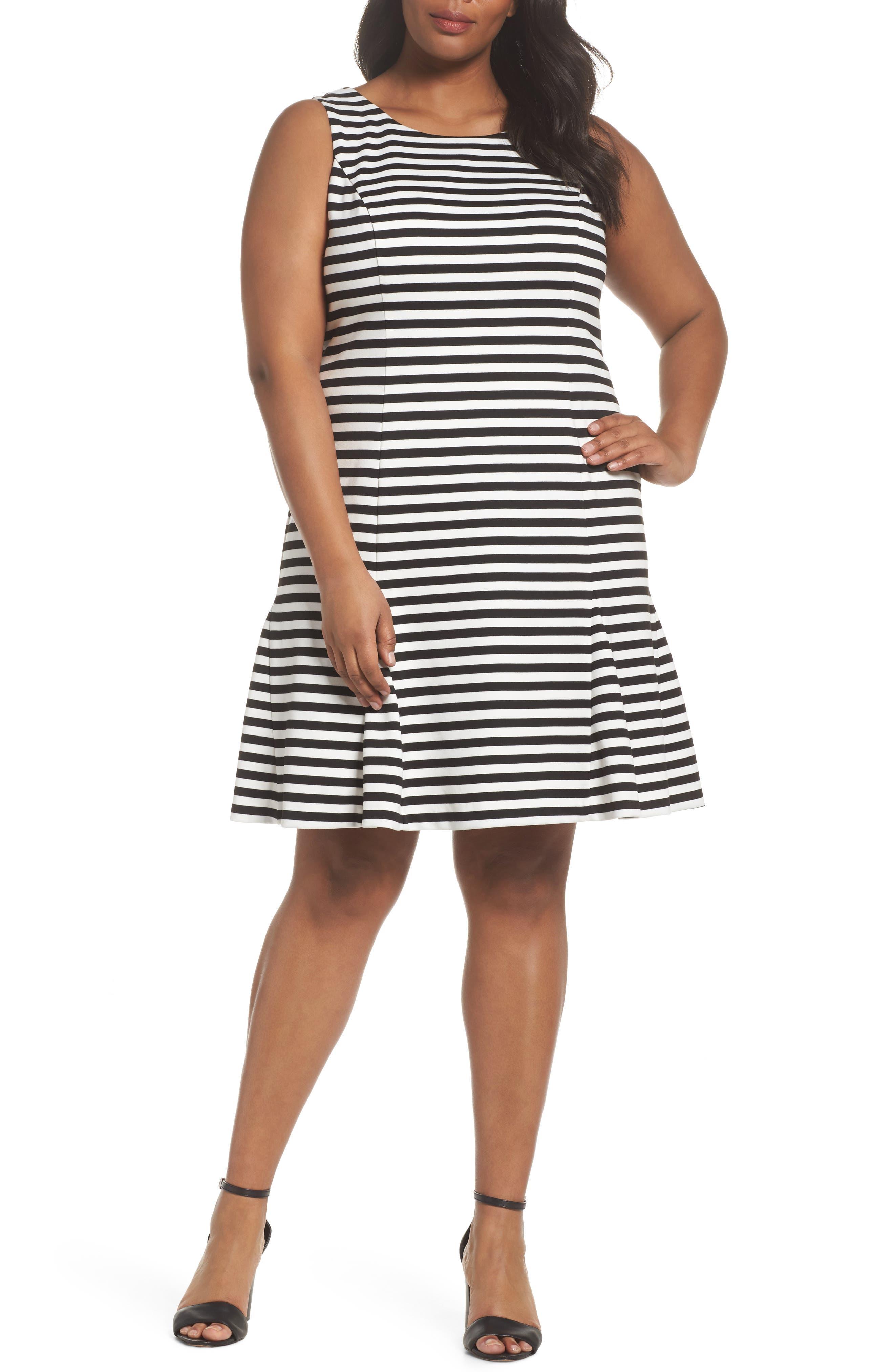 Godet Body-Con Dress,                             Main thumbnail 1, color,                             Black/ Ivory
