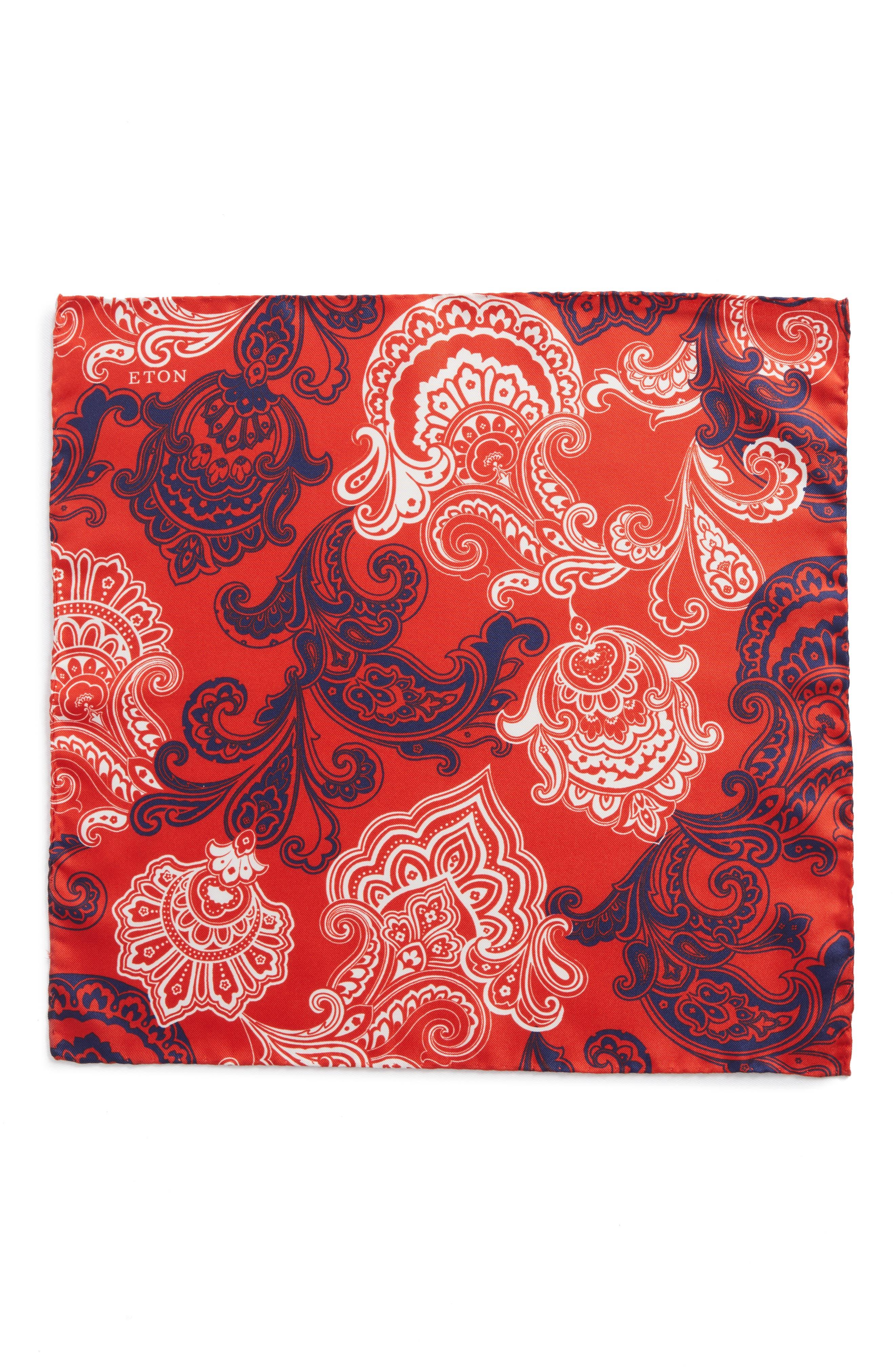 Paisley Silk Pocket Square,                             Alternate thumbnail 2, color,                             Red