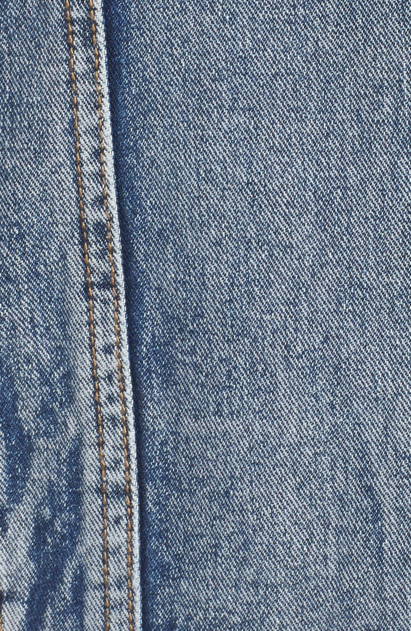 Embellished Distressed Denim Jacket,                             Alternate thumbnail 6, color,                             Mid Stonewash