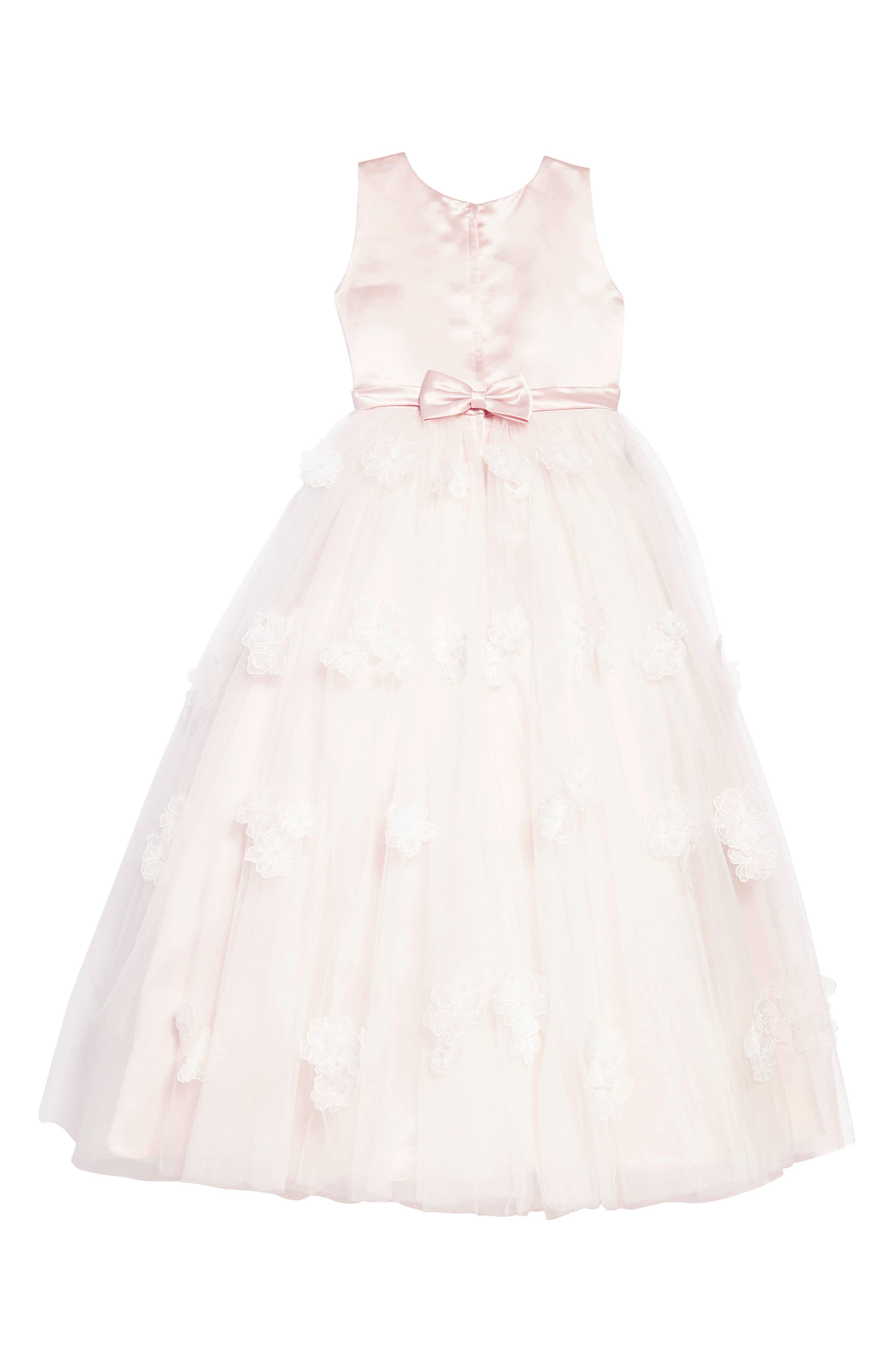 Satin & Tulle Dress,                             Alternate thumbnail 2, color,                             Petal/ Ivory