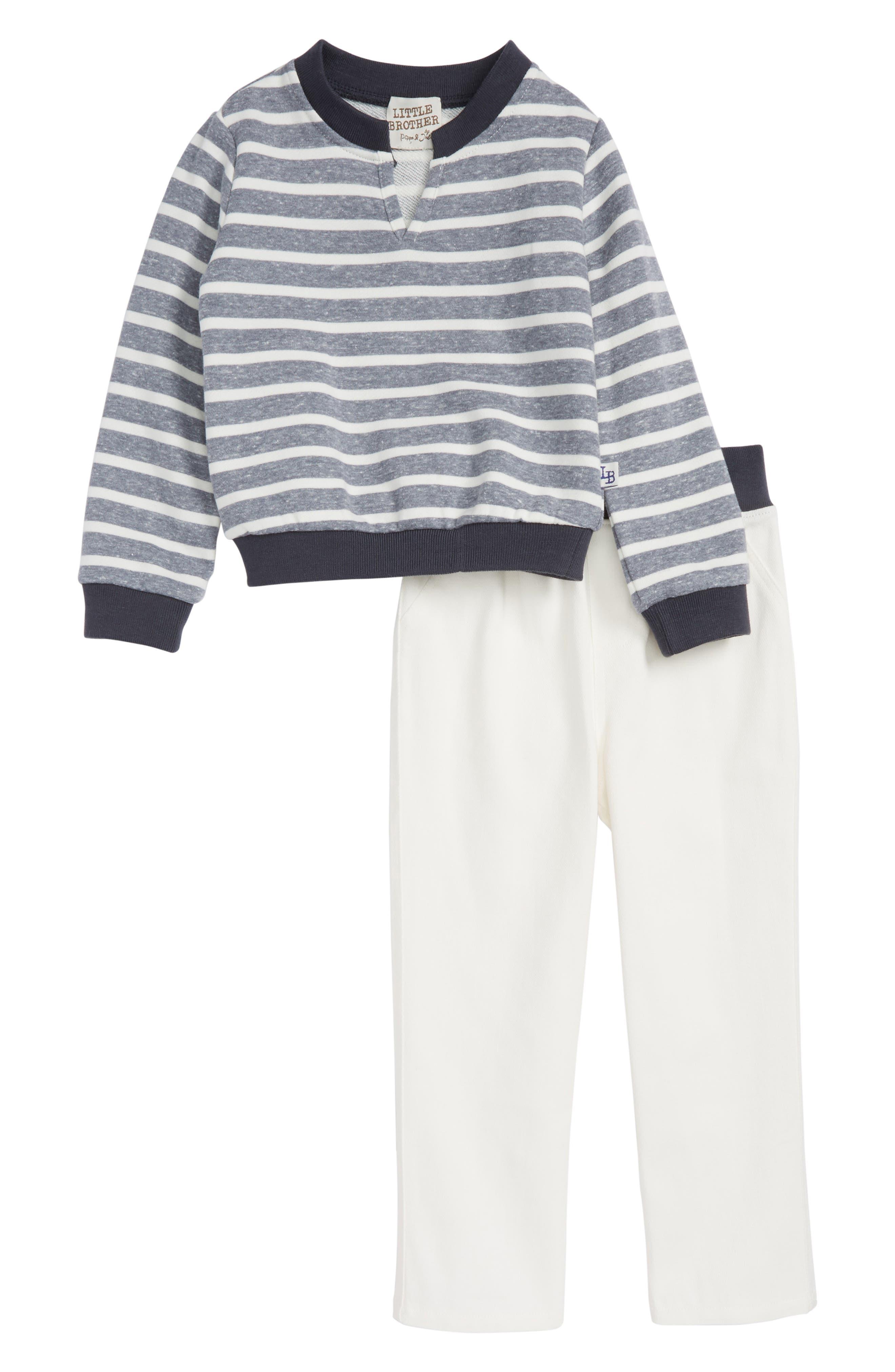 Stripe Sweater & Pants Set,                             Main thumbnail 1, color,                             Blue/ White