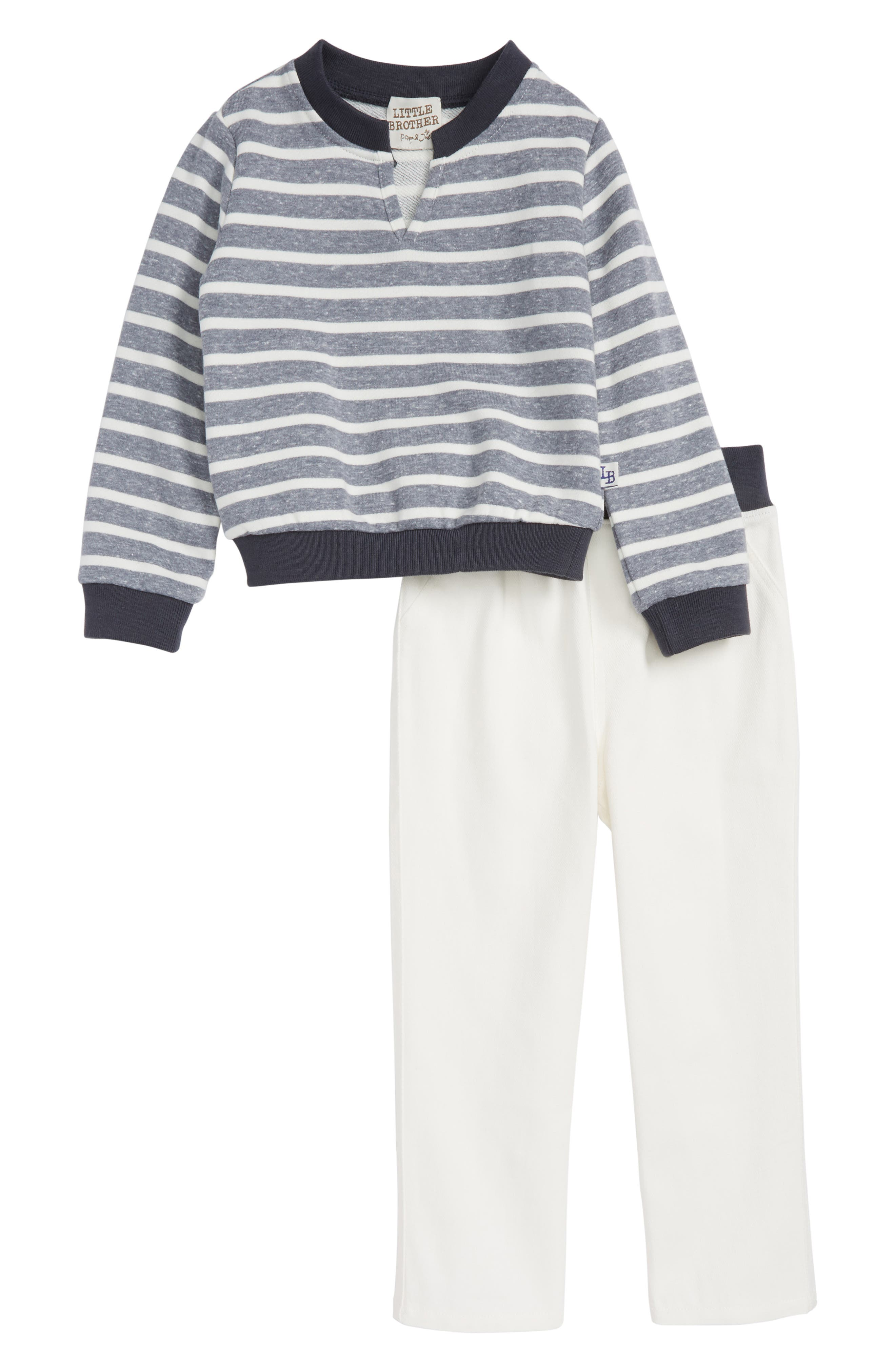 Little Brother by Pippa & Julie Stripe Sweater & Pants Set (Toddler Boys)