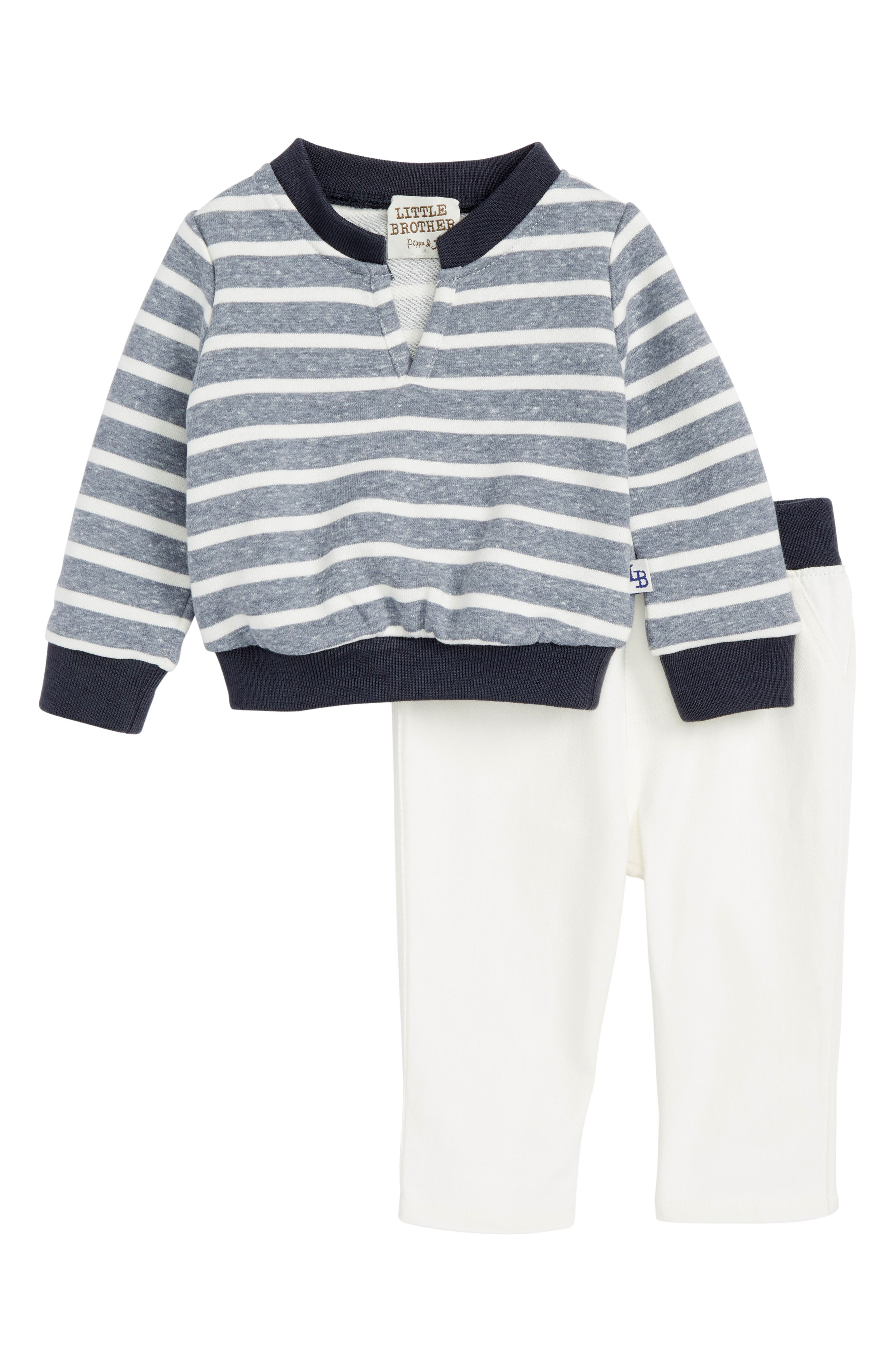 Little Brother by Pippa & Julie Stripe Sweatshirt & Denim Pants (Baby Boys)