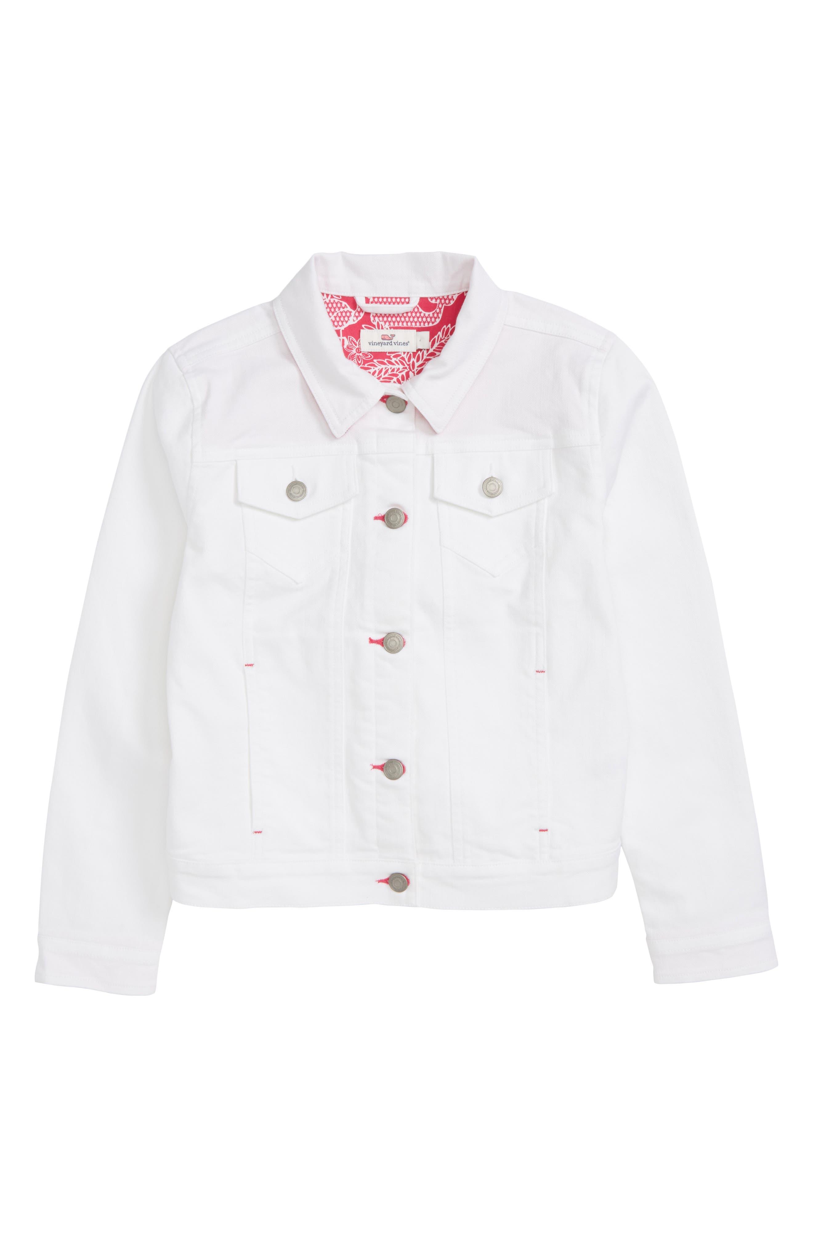 White Denim Jacket,                         Main,                         color, White Cap