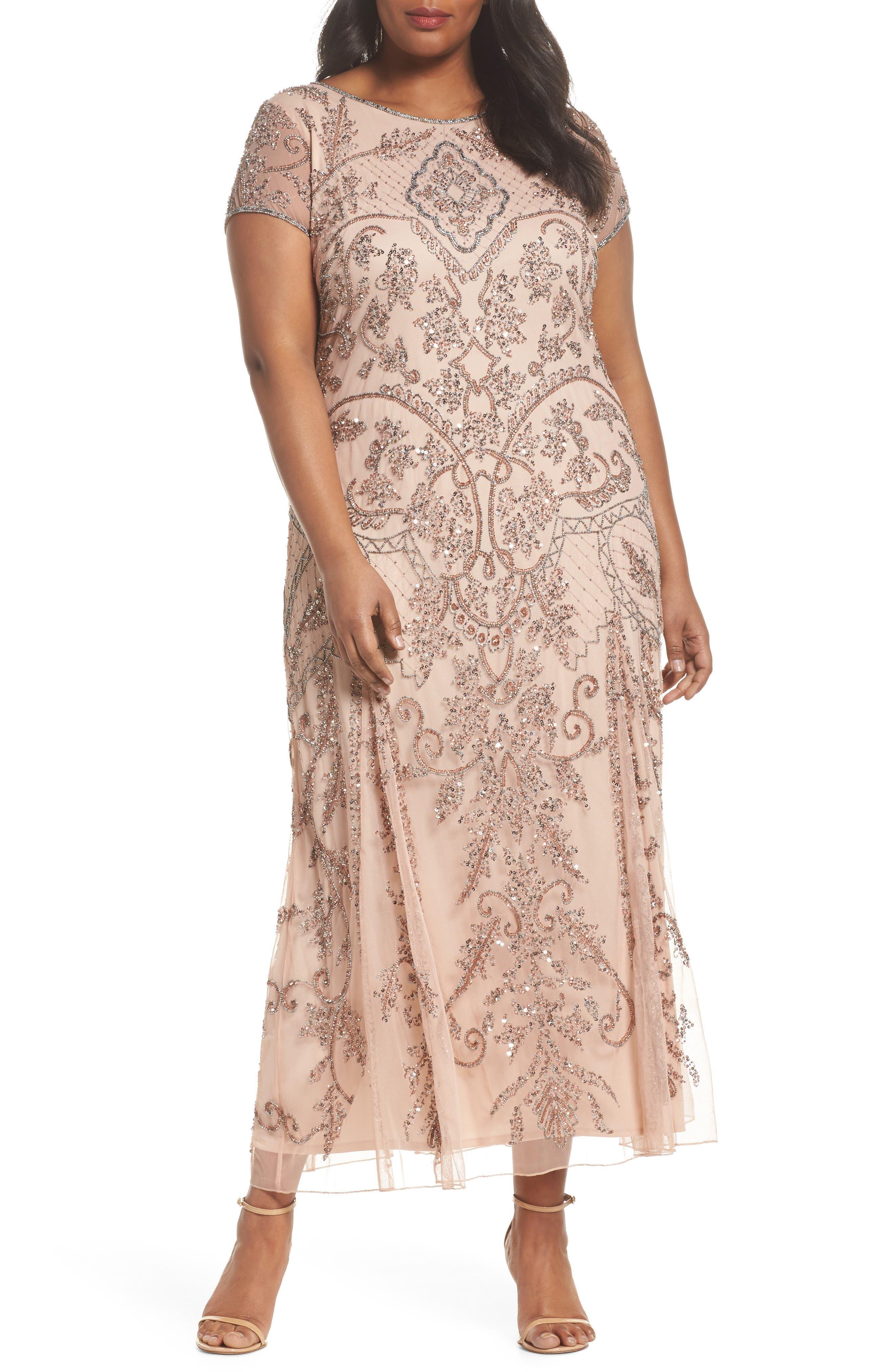 Beaded Short Sleeve Column Gown,                         Main,                         color, Blush