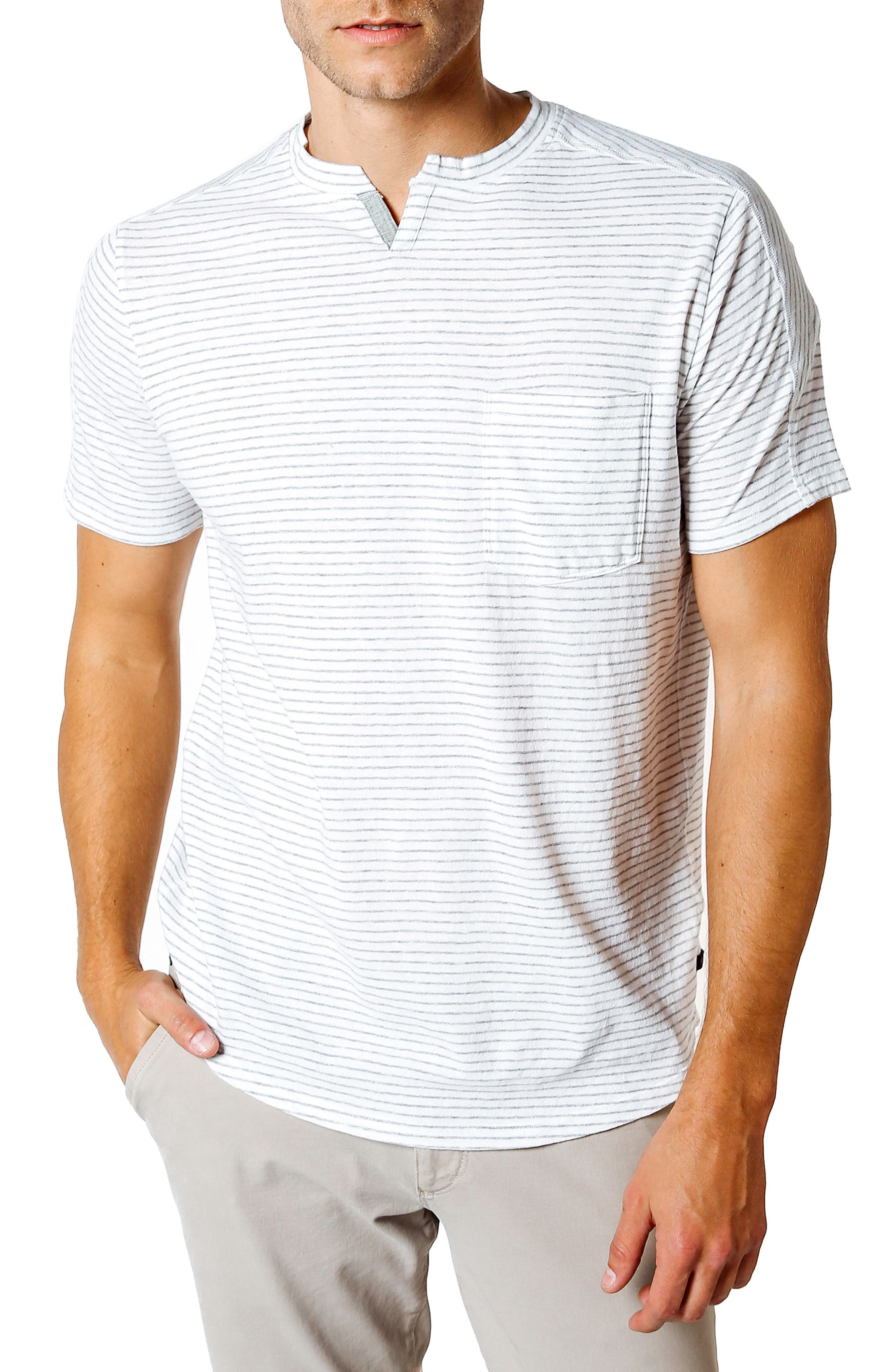 Slim Fit Stripe T-Shirt,                             Main thumbnail 1, color,                             White / Grey Heather
