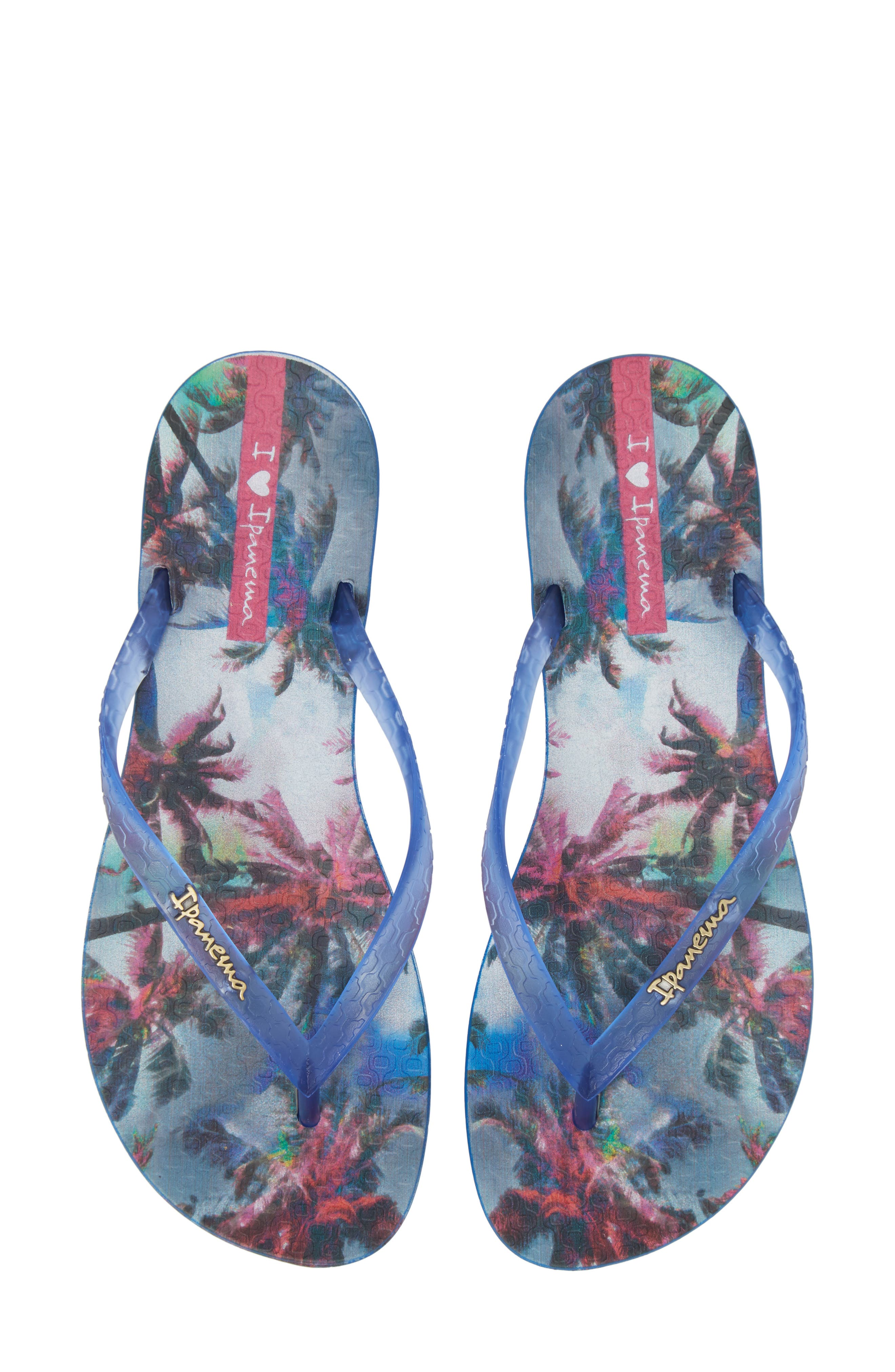 Wave Vista Print Flip-Flop,                         Main,                         color, Blue
