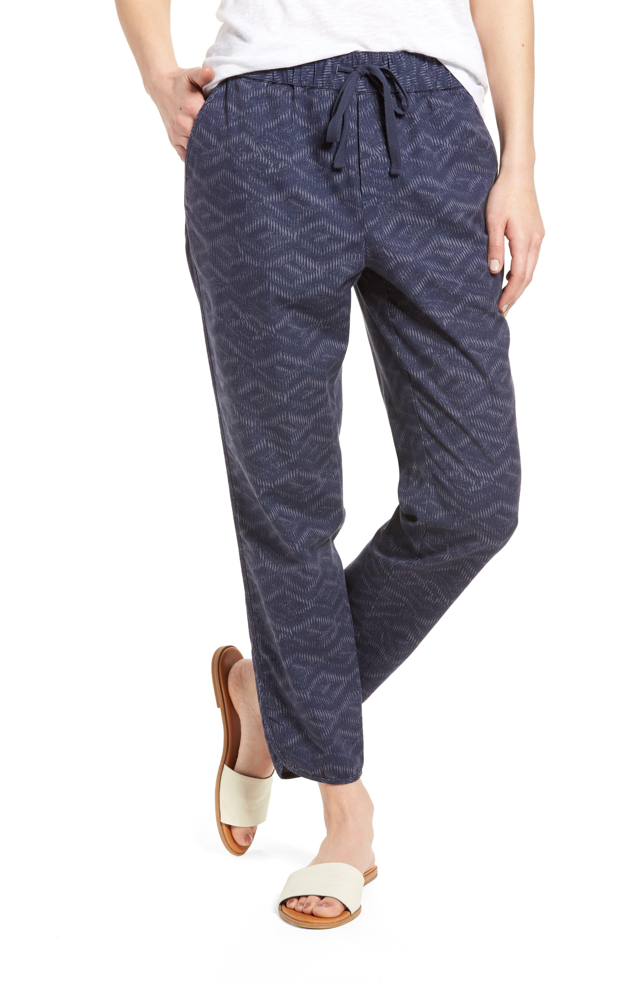 Pattern Cotton Blend Drawstring Pants,                         Main,                         color, Navy Ikat Diamonds
