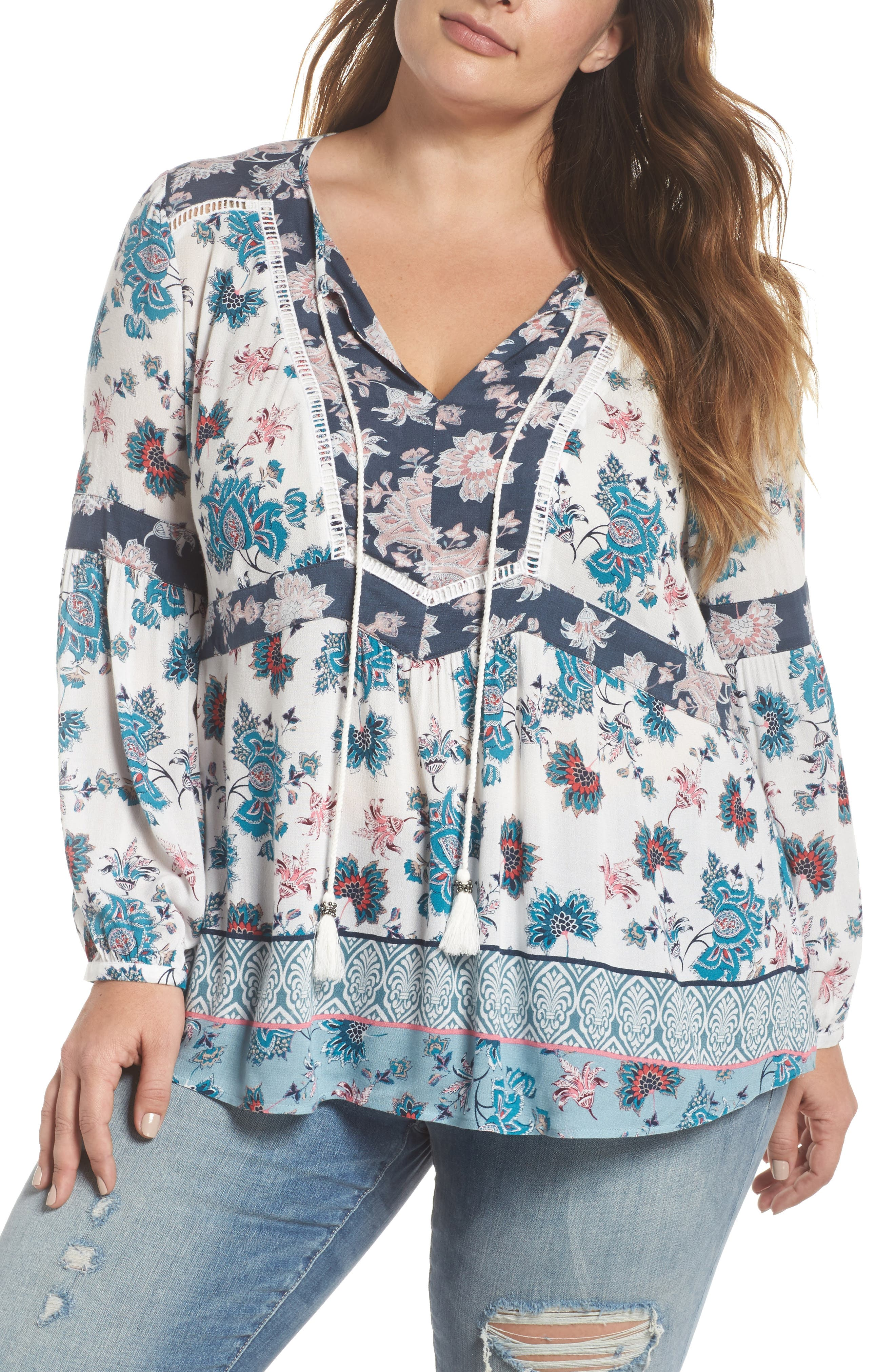 Mix Print Peasant Top,                         Main,                         color, C955n Teal