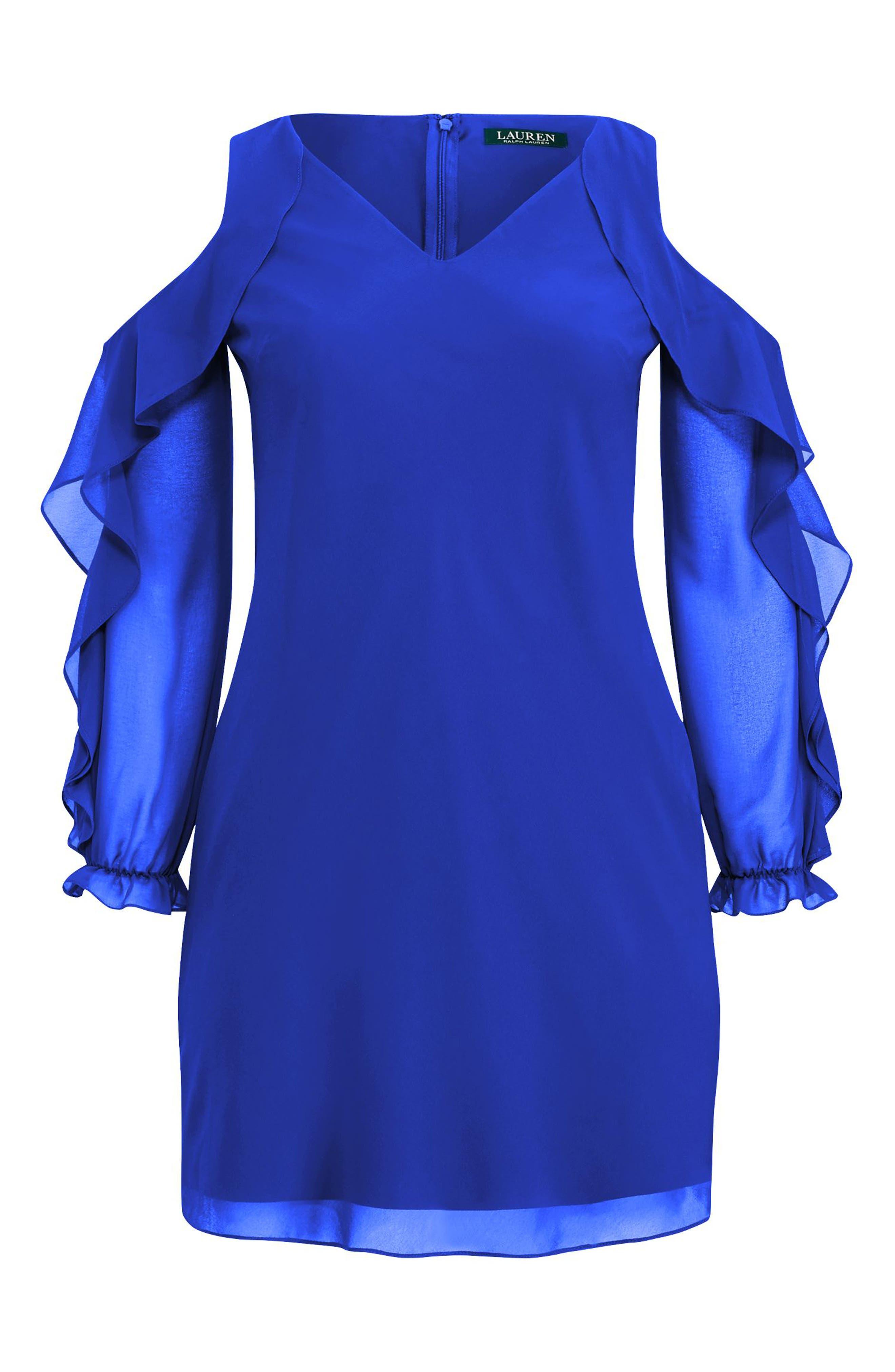 Paiva Cold Shoulder Minidress,                             Alternate thumbnail 4, color,                             Deep Lapis