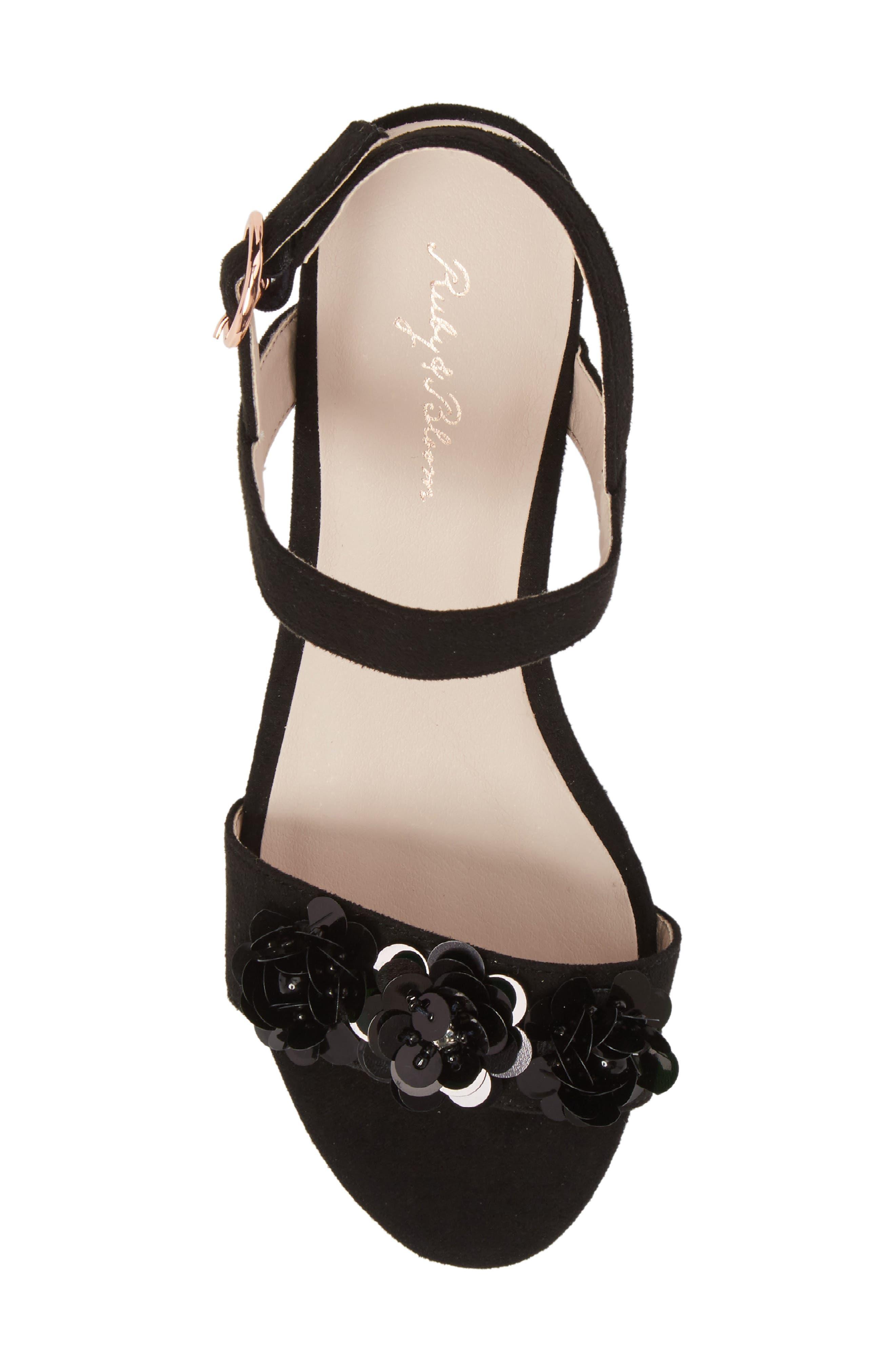 Dina Floral Embellished Sandal,                             Alternate thumbnail 5, color,                             Black Fabric