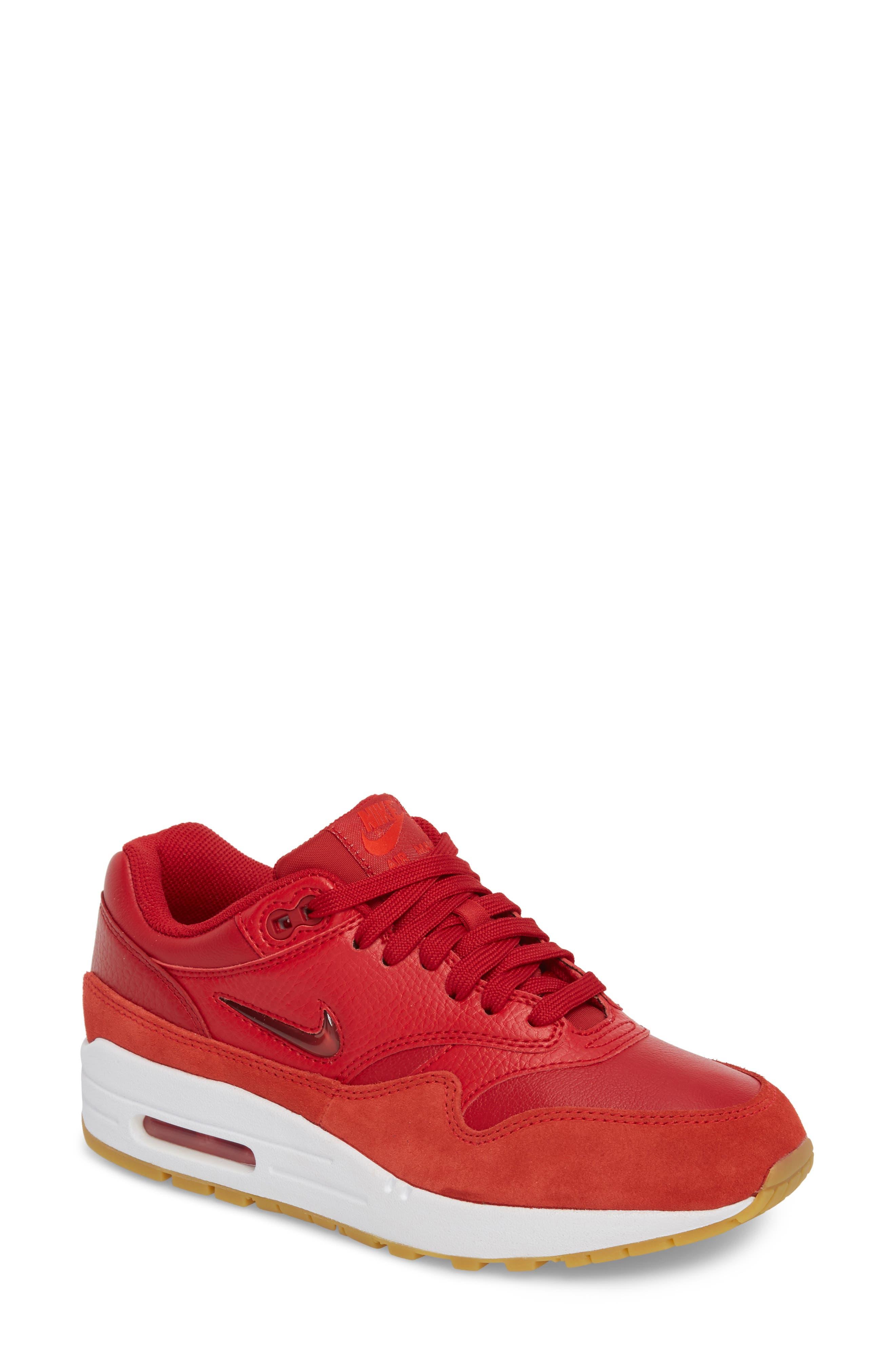 Air Max 1 Premium SC Sneaker,                             Main thumbnail 1, color,                             Gym Red/ Gym Red