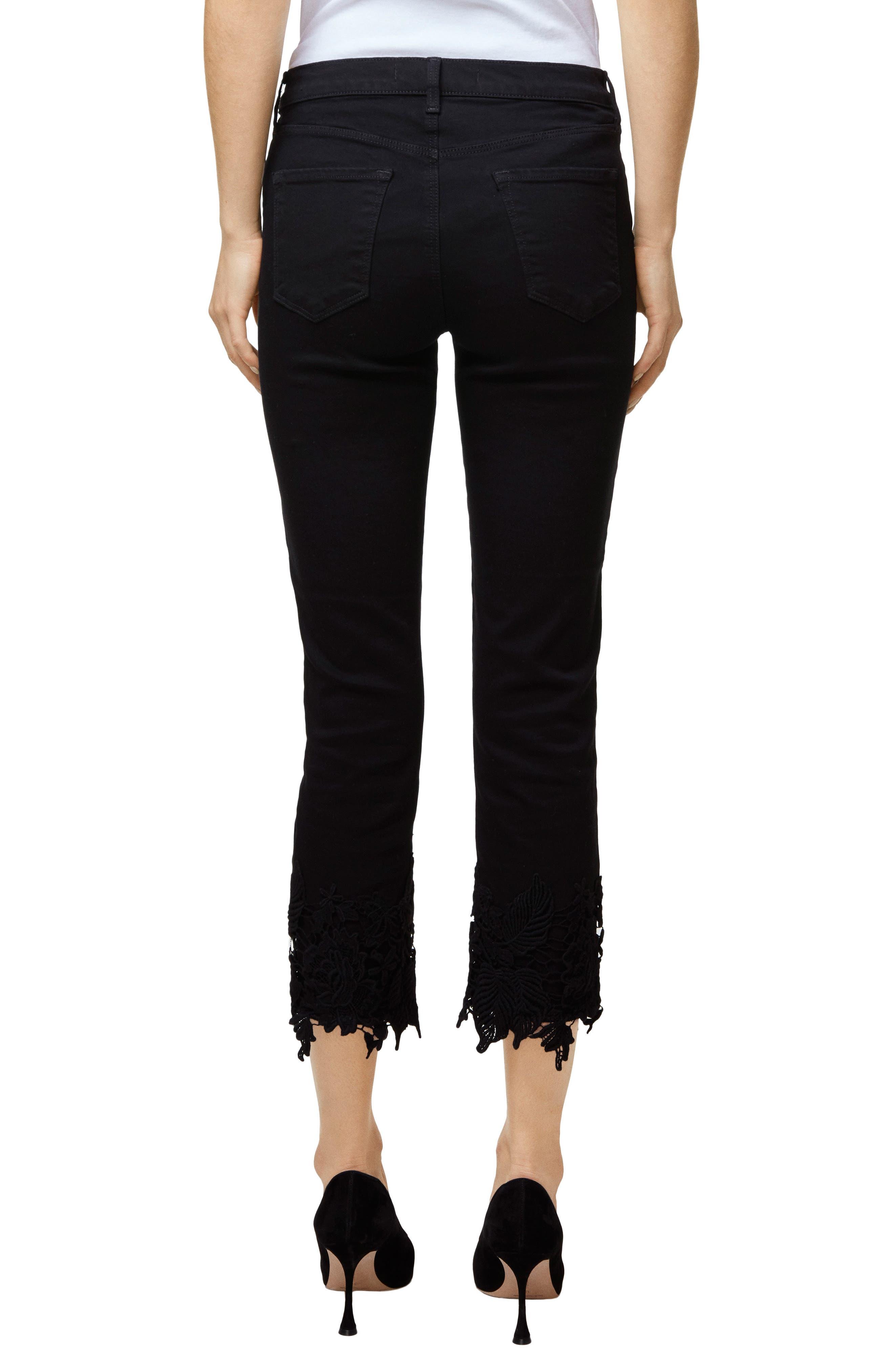 Ruby High Waist Crop Cigarette Jeans,                             Alternate thumbnail 2, color,                             Black Lace