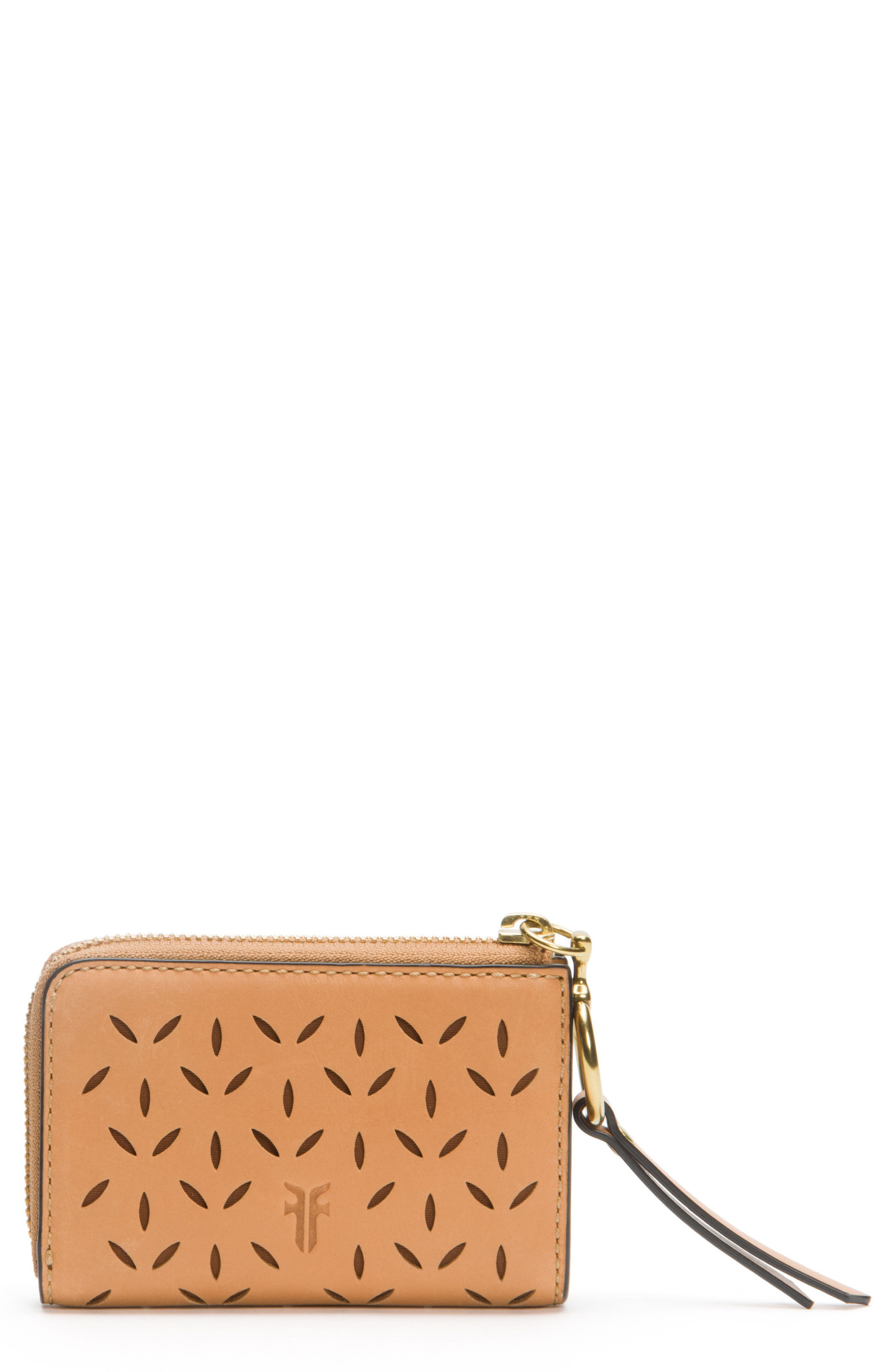Ilana Small Perforated Leather Zip Wallet,                             Main thumbnail 1, color,                             Light Tan