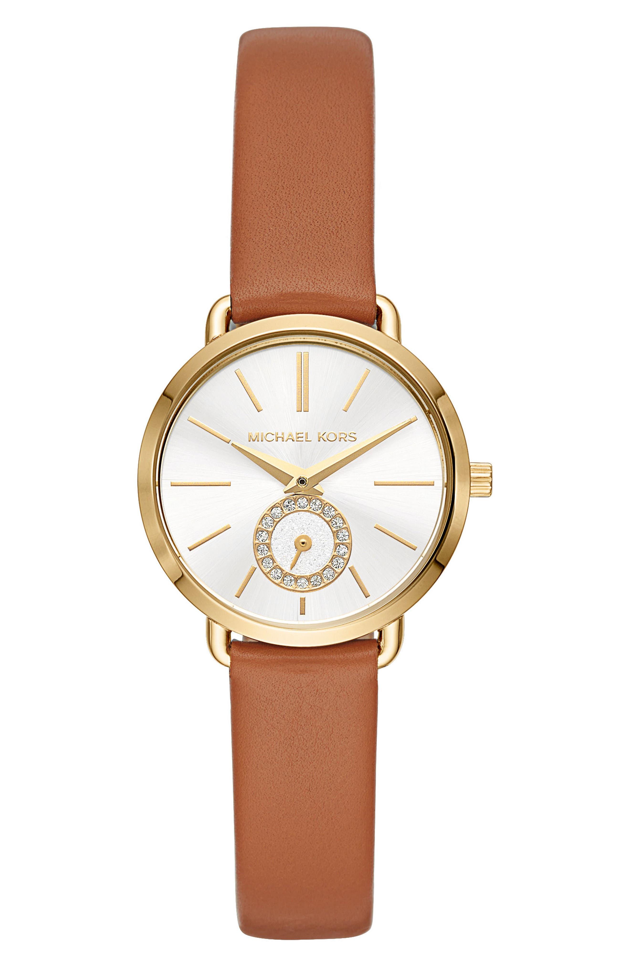 Mini Portia Leather Strap Watch, 28mm,                         Main,                         color, Tan/ Gold