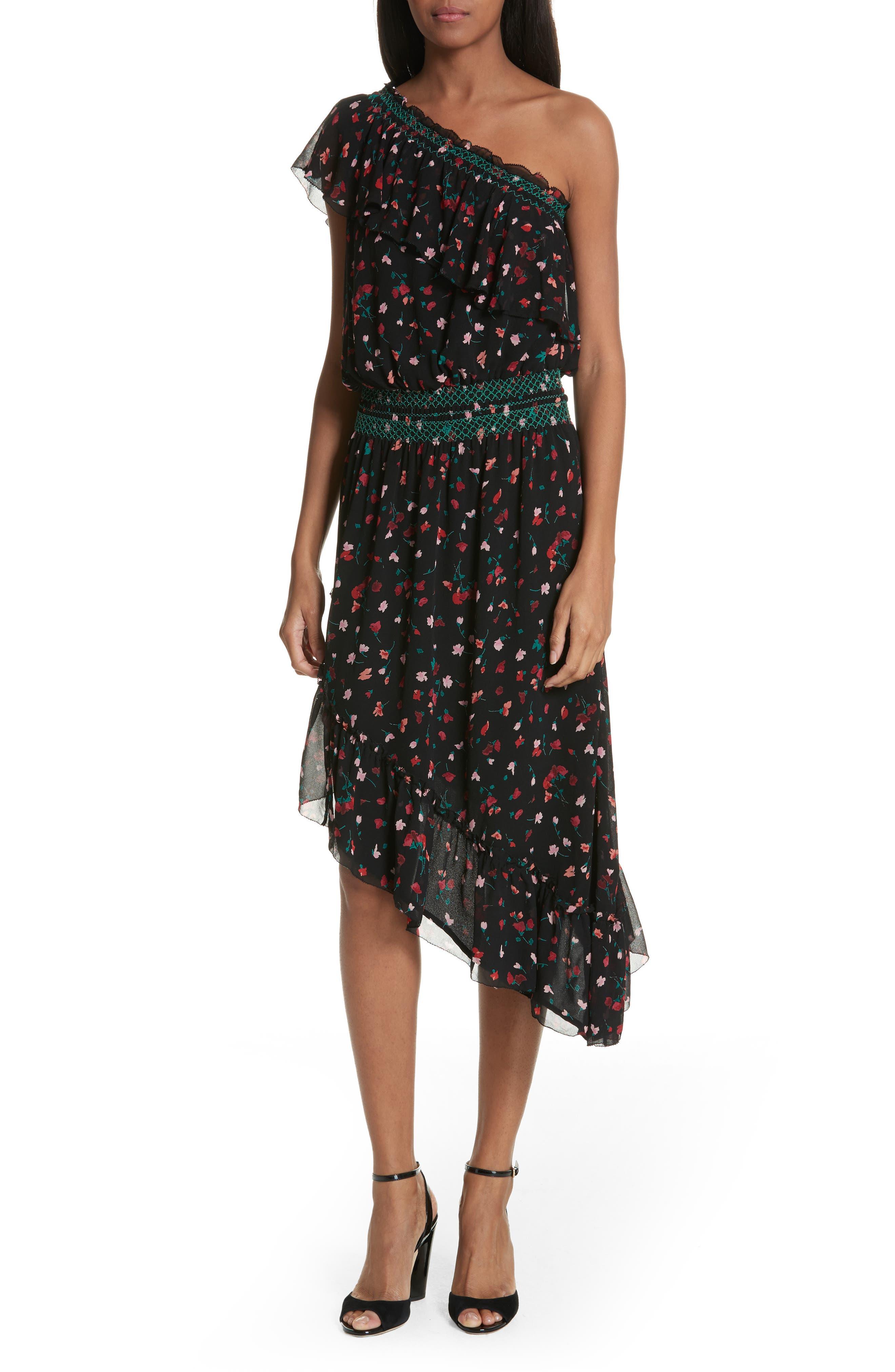 Main Image - Joie Hafsa One-Shoulder Print Silk Dress