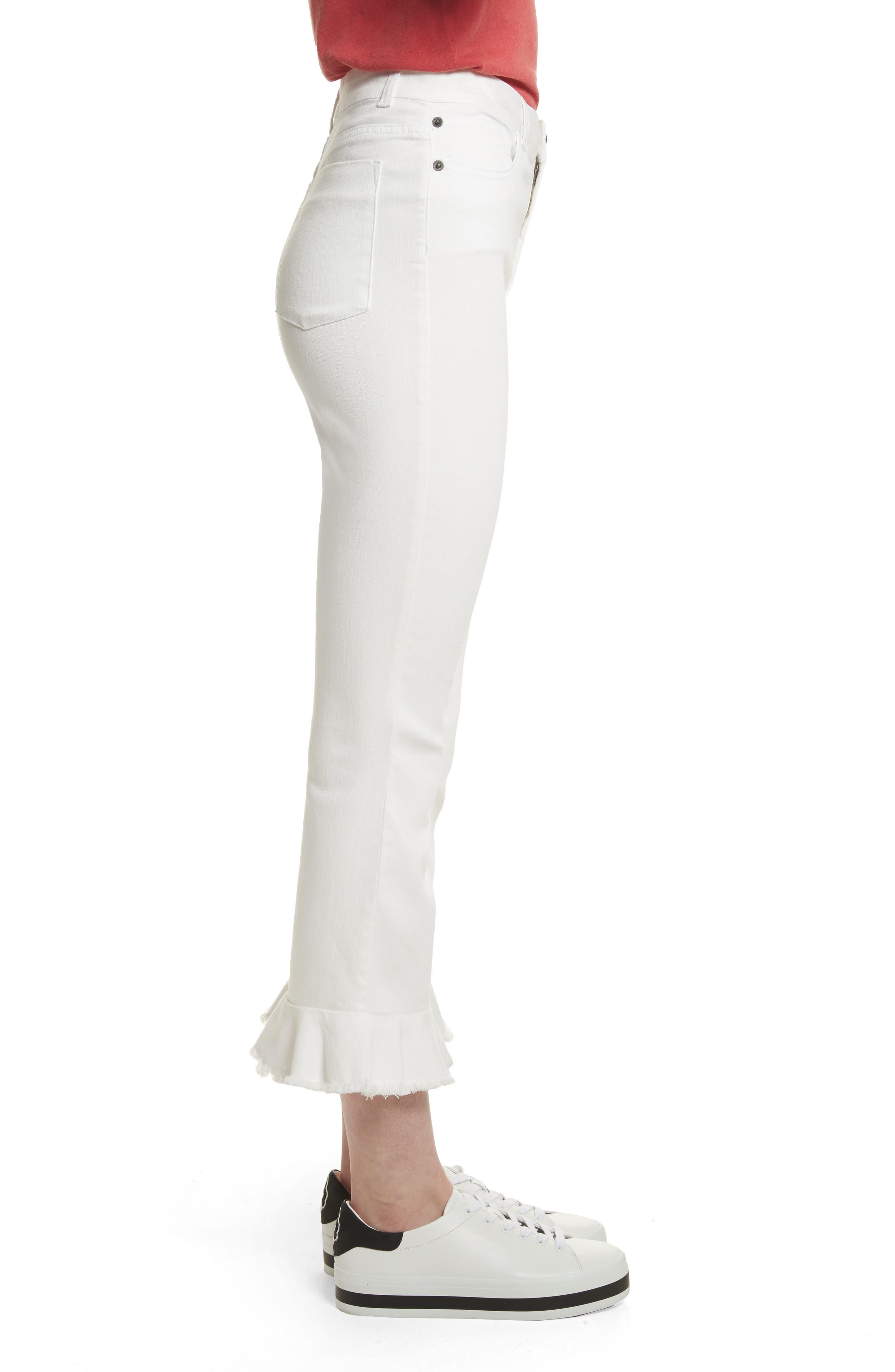AO.LA Zoe Ruffle Hem Crop Jeans,                             Alternate thumbnail 3, color,                             White