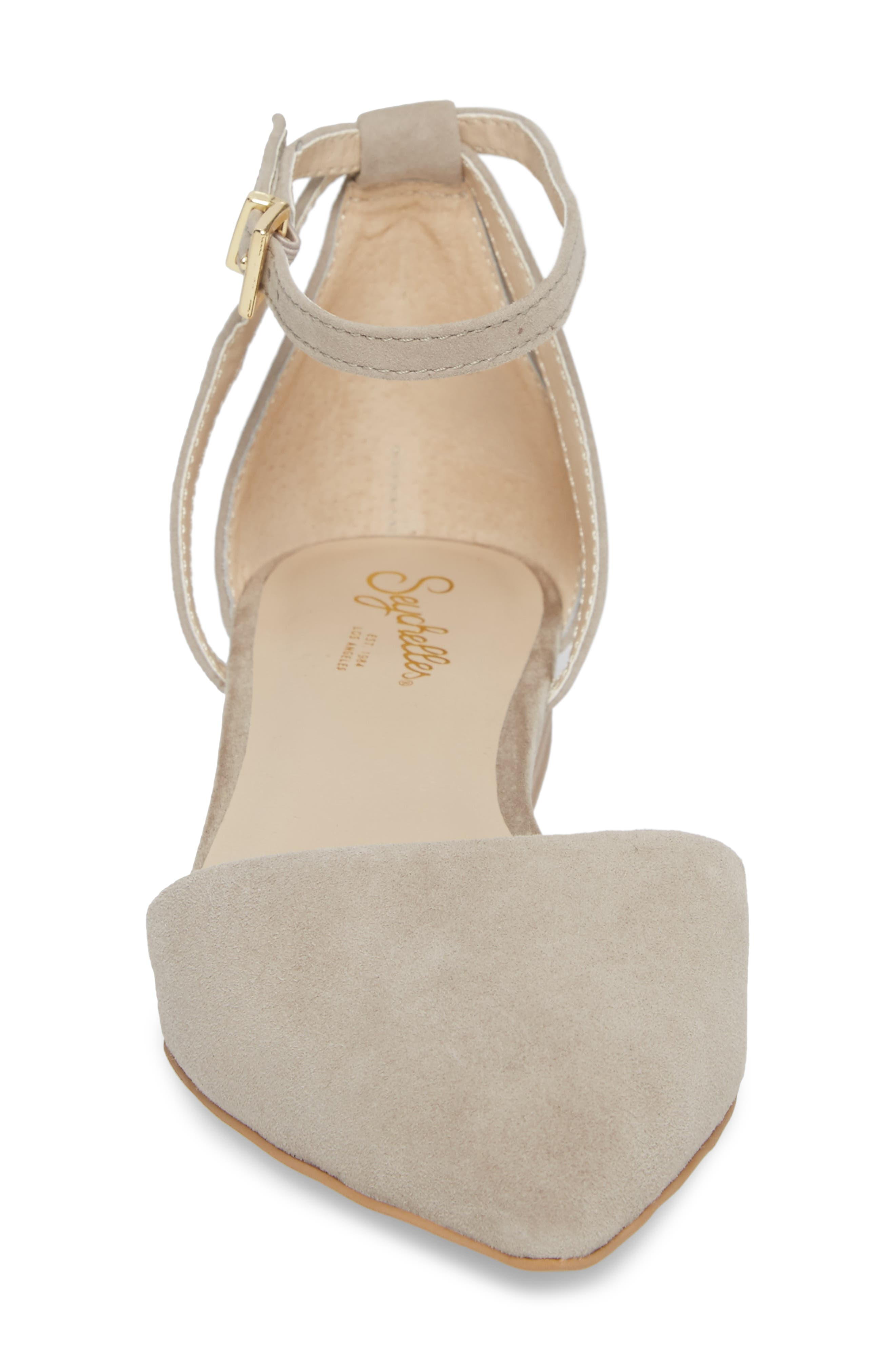 Plateau Ankle Strap Flat,                             Alternate thumbnail 4, color,                             Taupe Suede